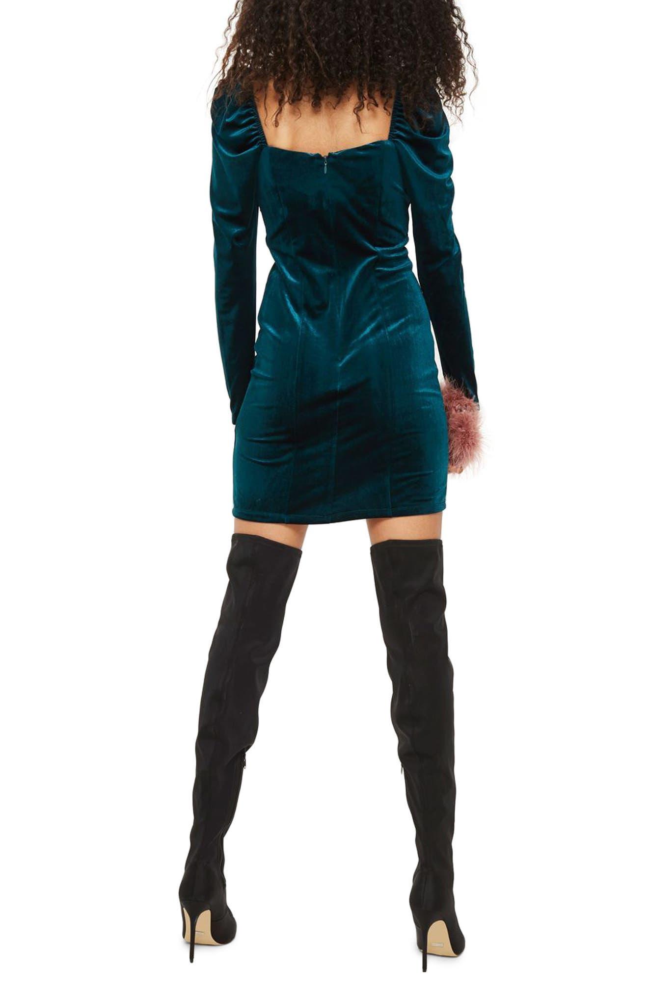 Velvet Sweetheart Neck Body-Con Dress,                             Alternate thumbnail 2, color,                             Teal