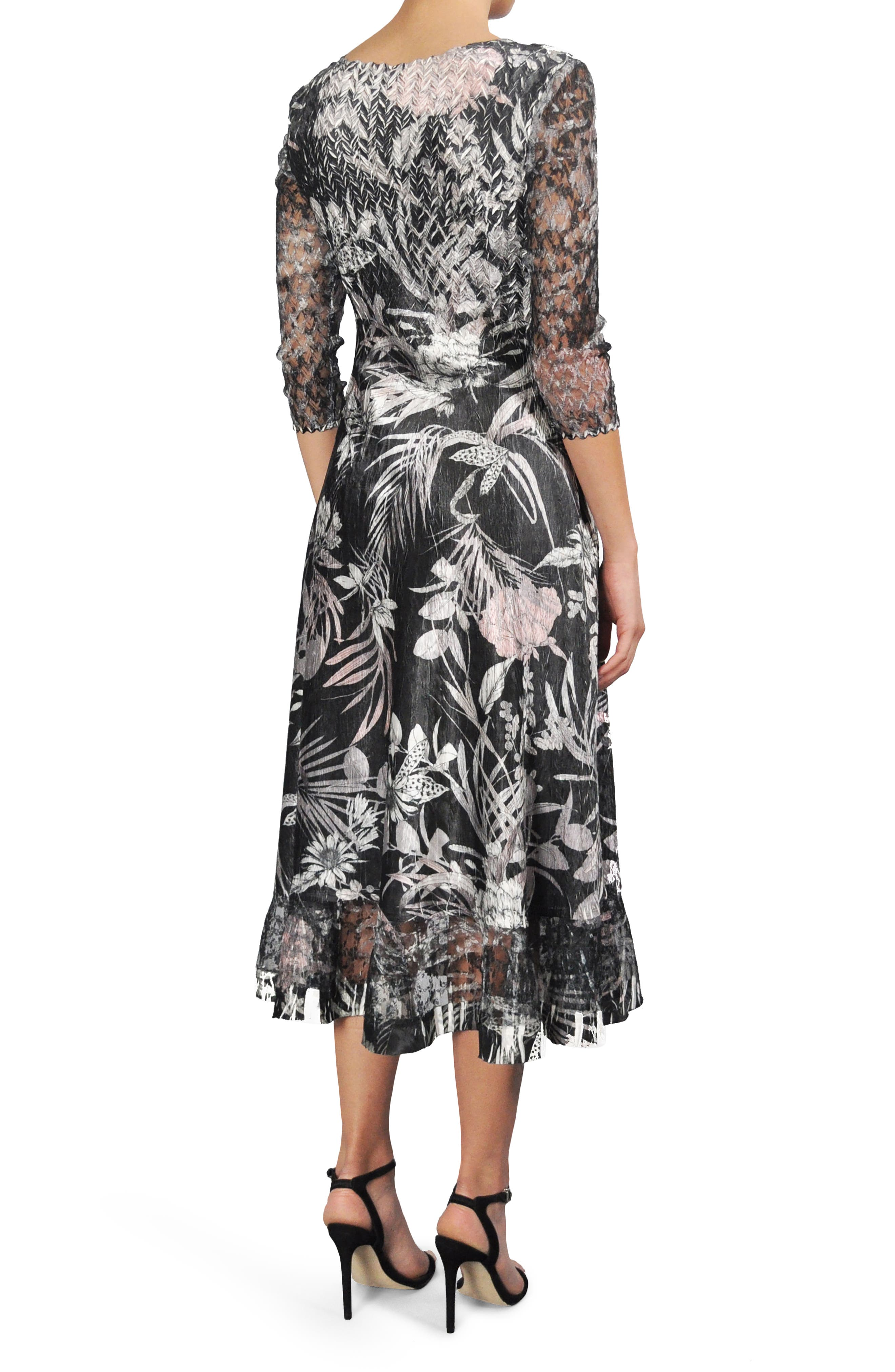 Print Charmeuse A-Line Midi Dress,                             Alternate thumbnail 2, color,                             Shaded Tropic