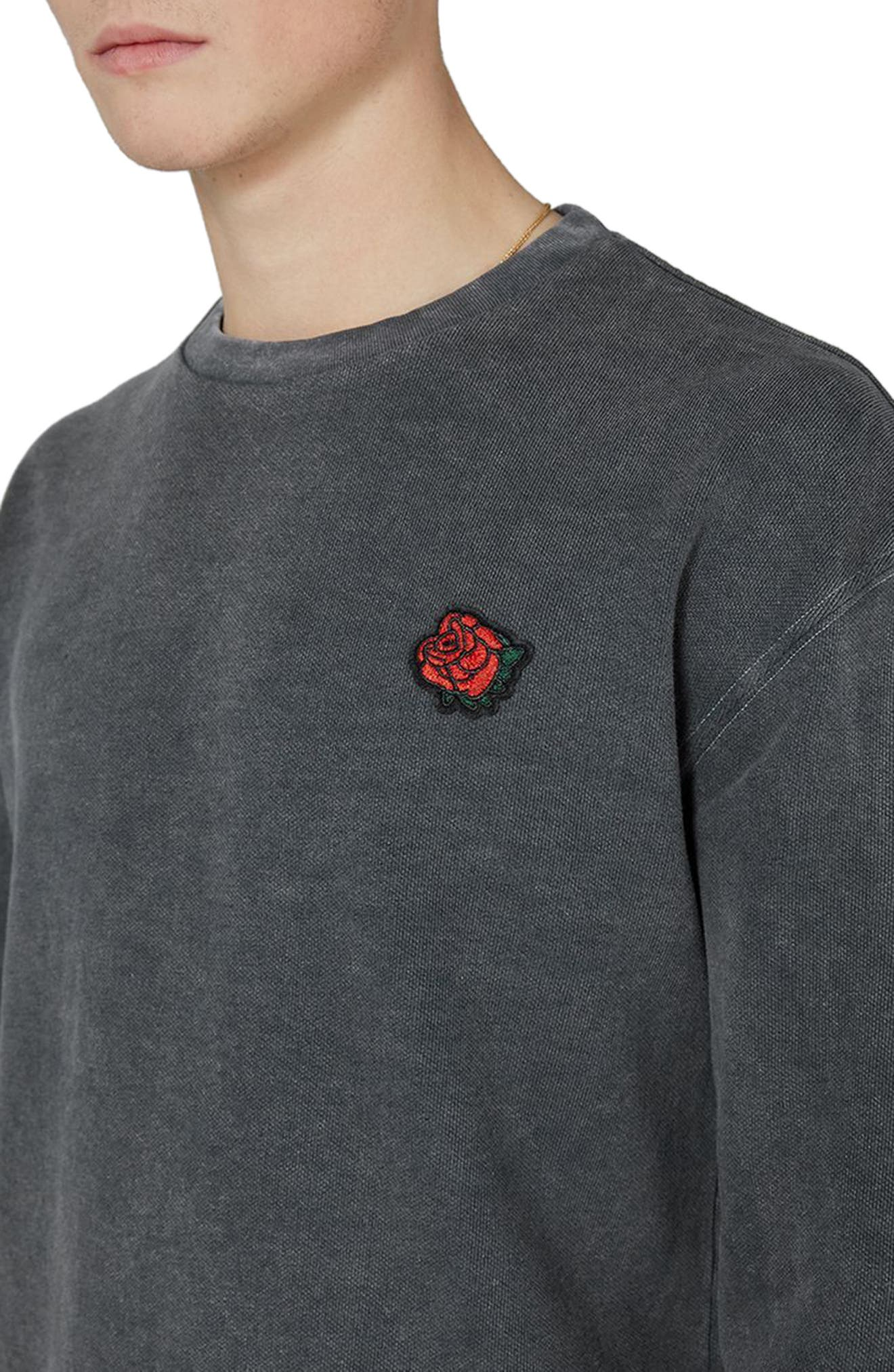 Percy Rose Embroidered Sweatshirt,                             Alternate thumbnail 3, color,                             Grey