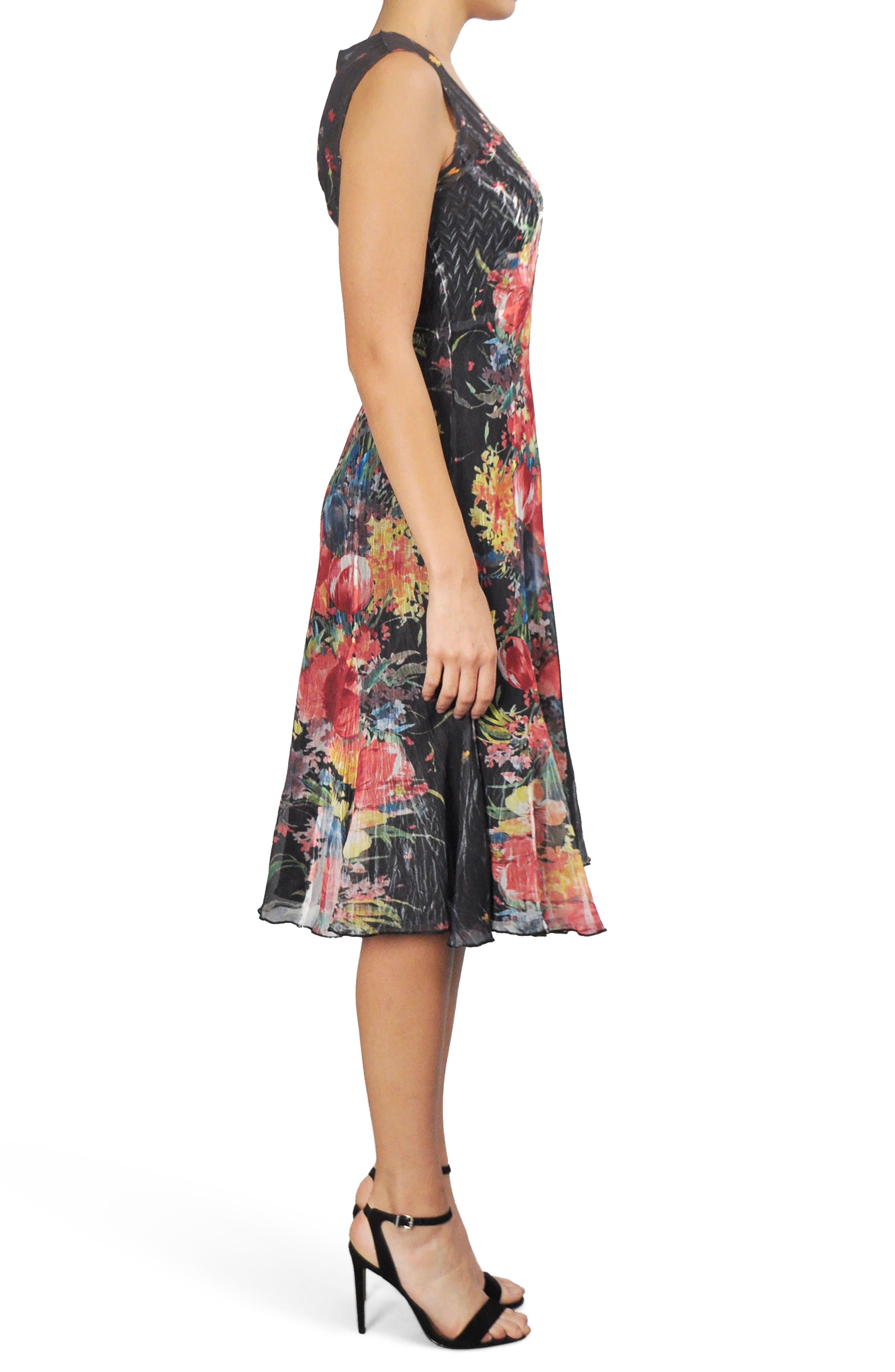 Floral Chiffon A-Line Dress,                             Alternate thumbnail 3, color,                             Tiger Lily