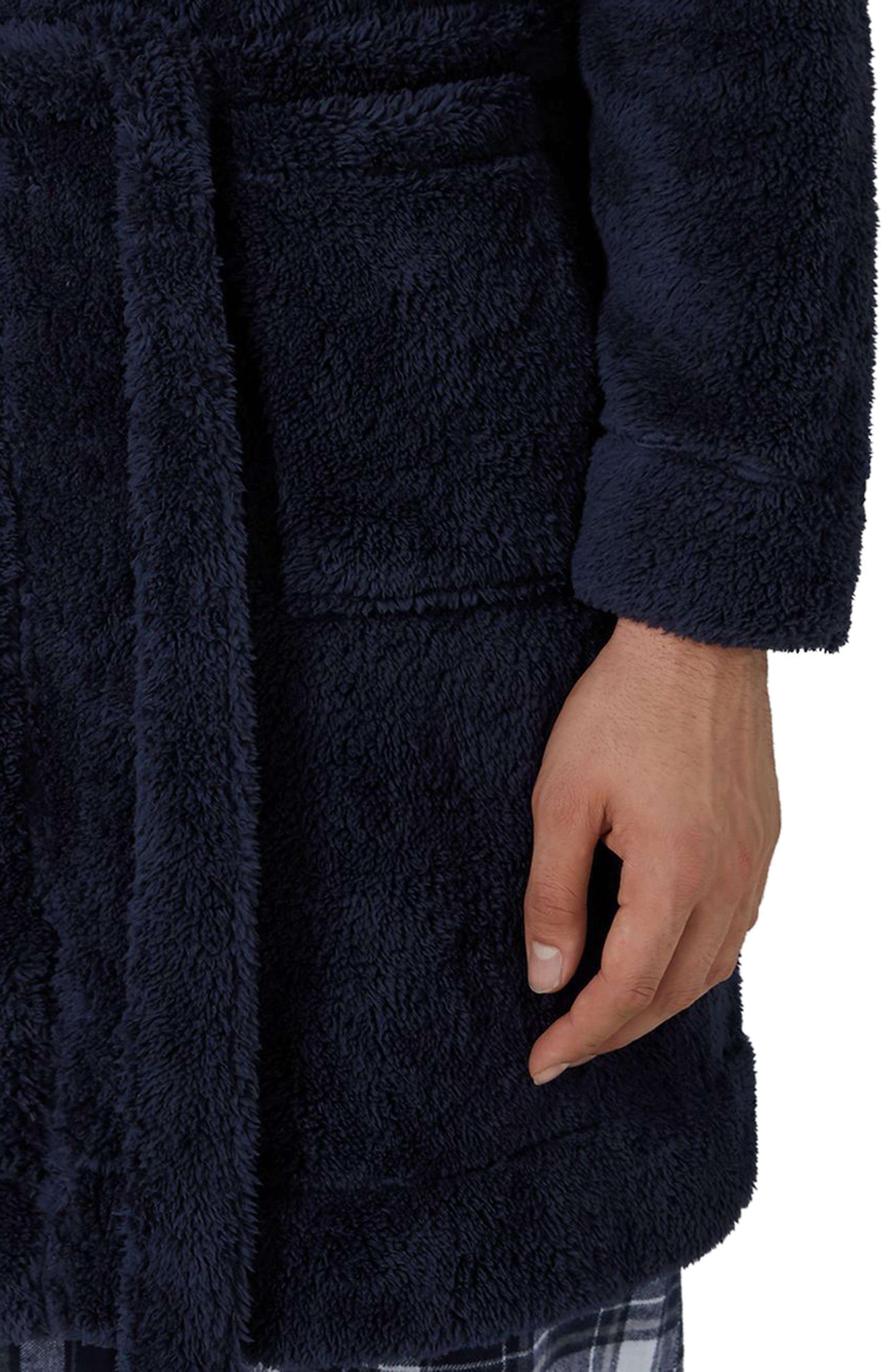 Fleece Robe,                             Alternate thumbnail 3, color,                             Dark Blue