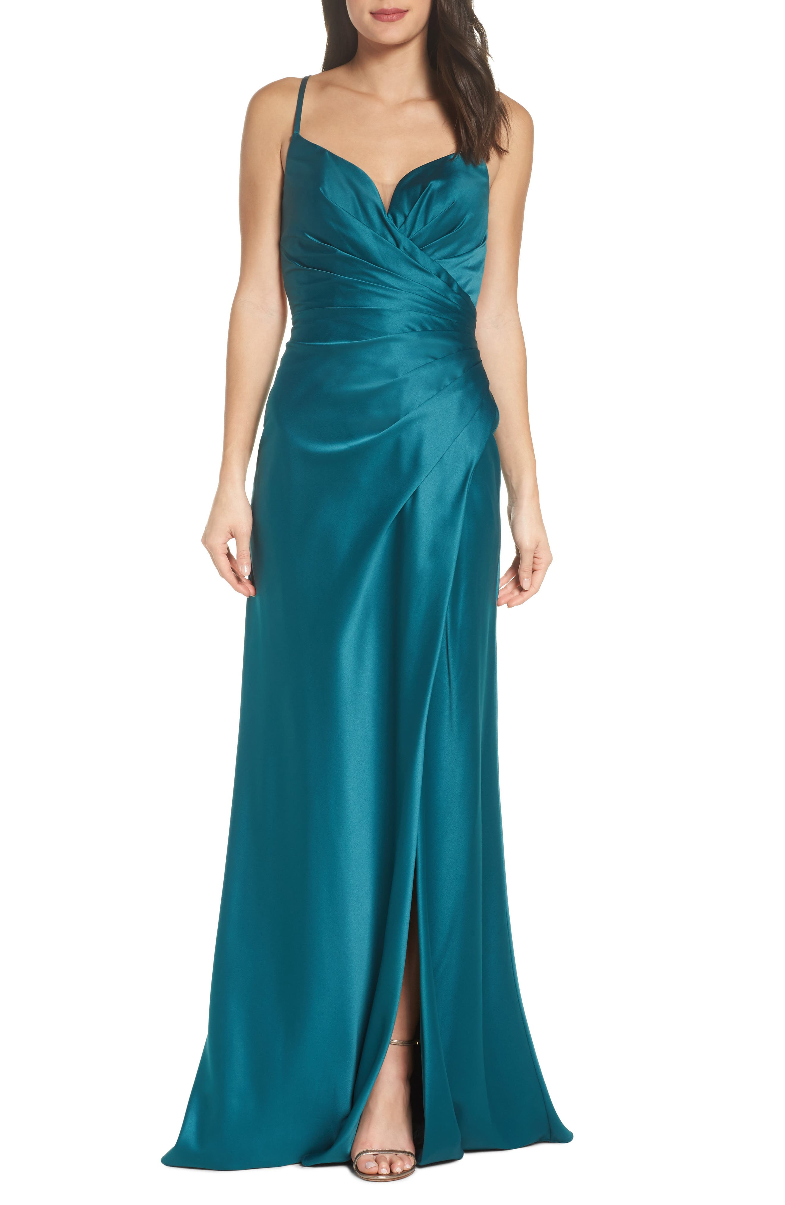 Strappy Ruched Bodice Gown,                         Main,                         color, Forest Green