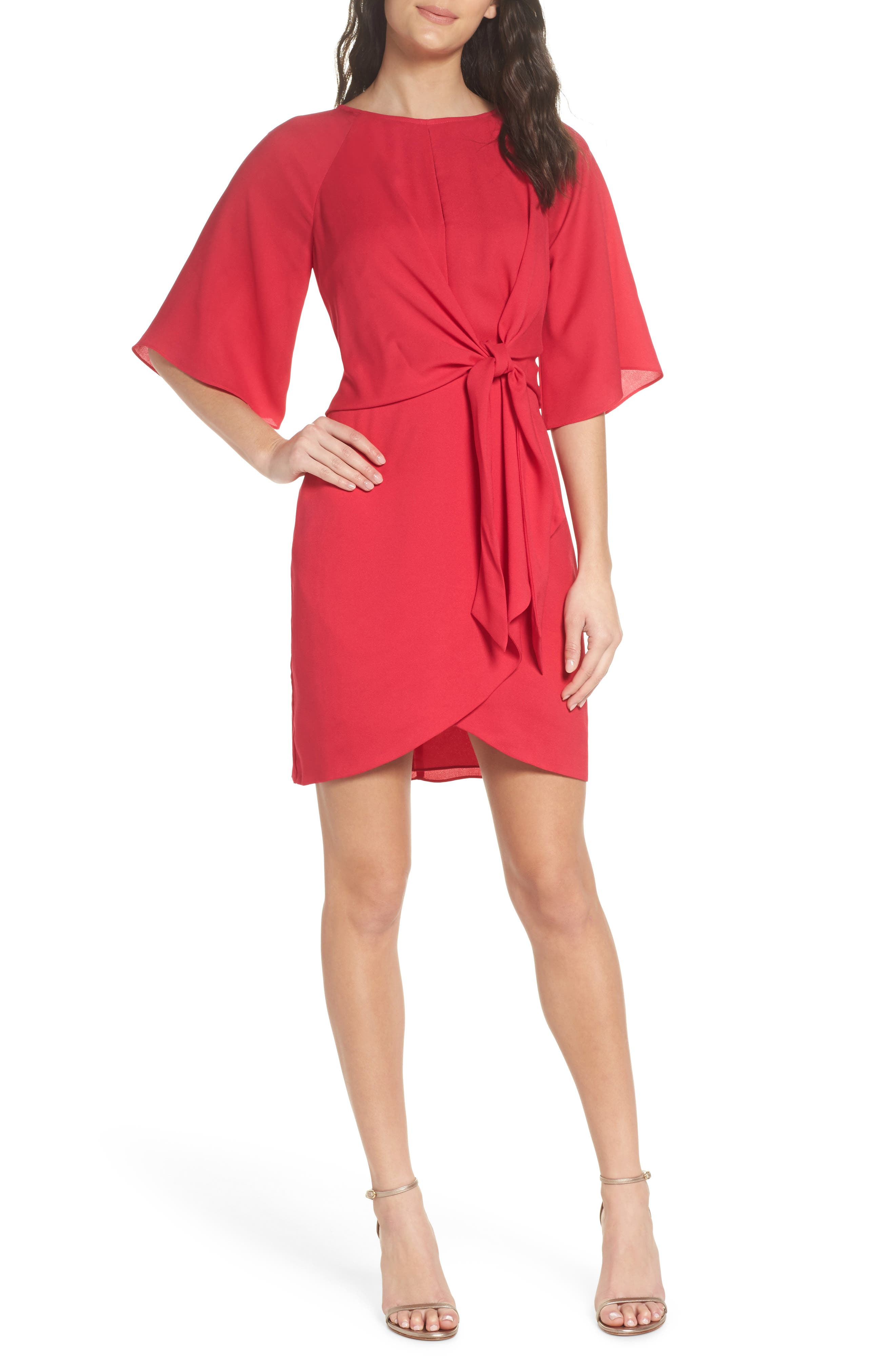 Abbey Faux Wrap Dress,                             Main thumbnail 1, color,                             Fuchsia