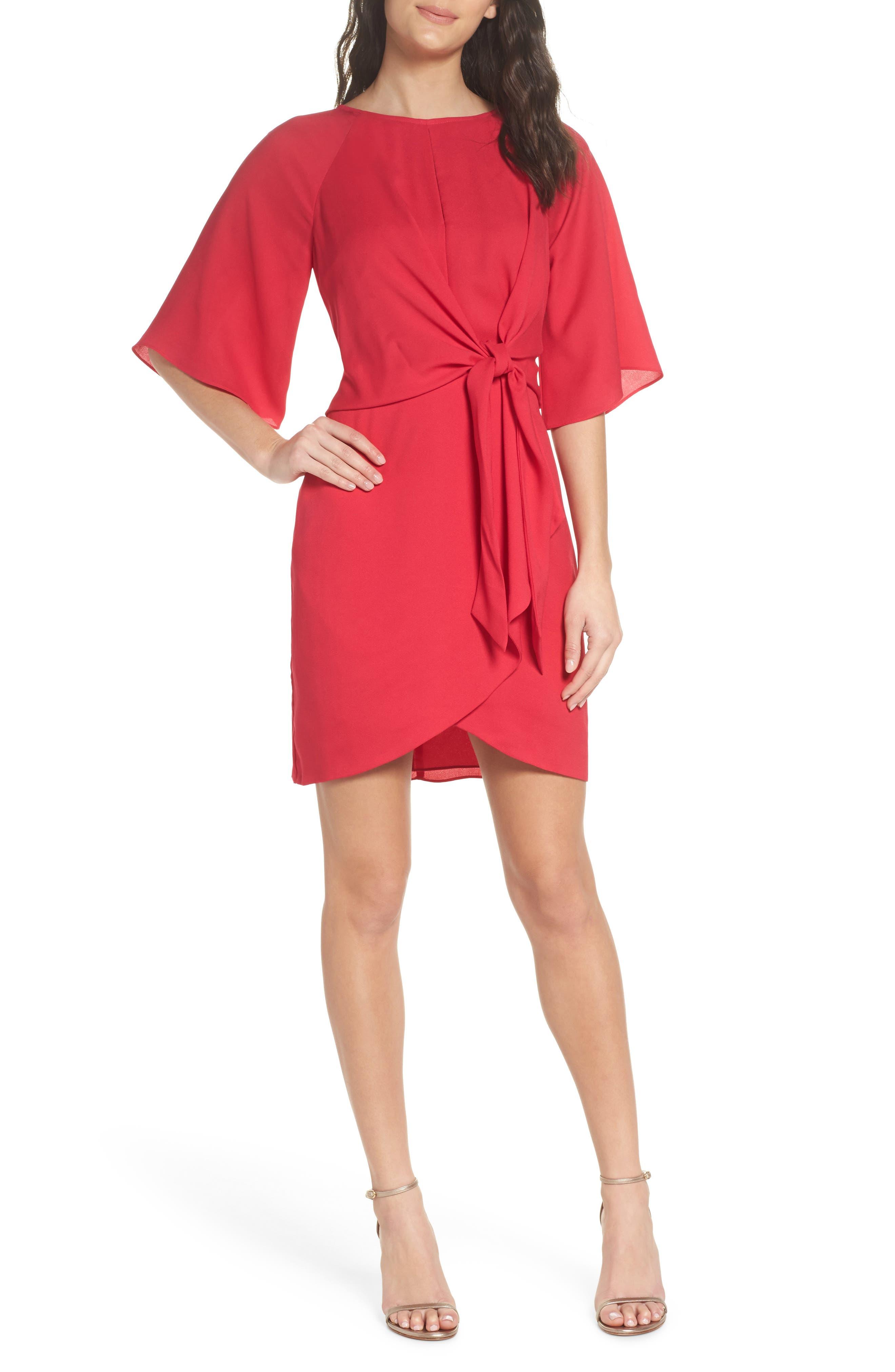 Abbey Faux Wrap Dress,                         Main,                         color, Fuchsia