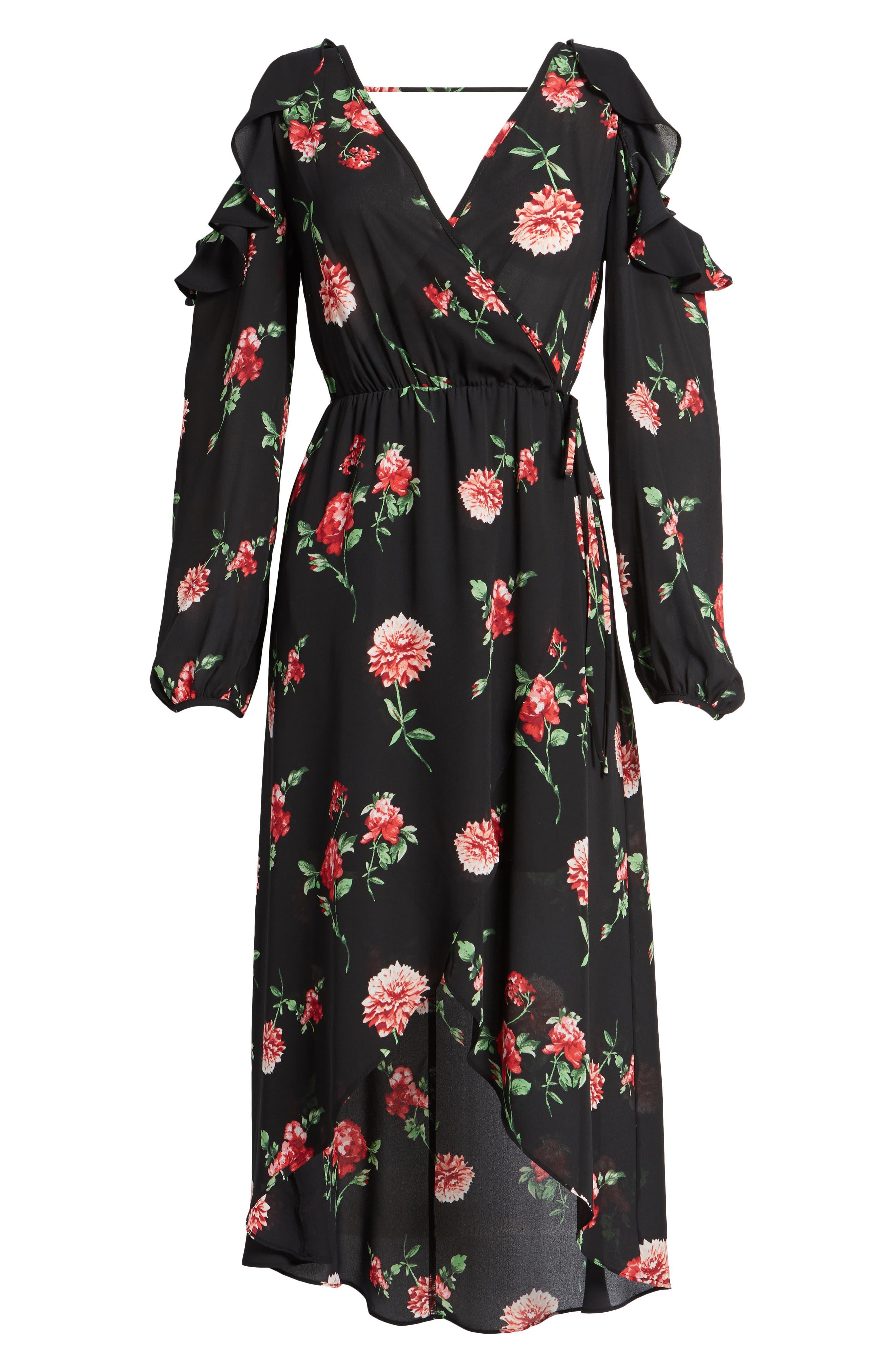 Ruffle Cold Shoulder Faux Wrap Dress,                             Alternate thumbnail 6, color,                             750 Black Red