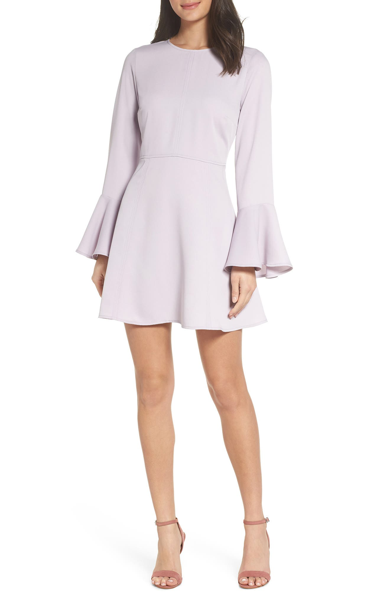 Bell Sleeve Fit & Flare Dress,                         Main,                         color, Purple Thistle