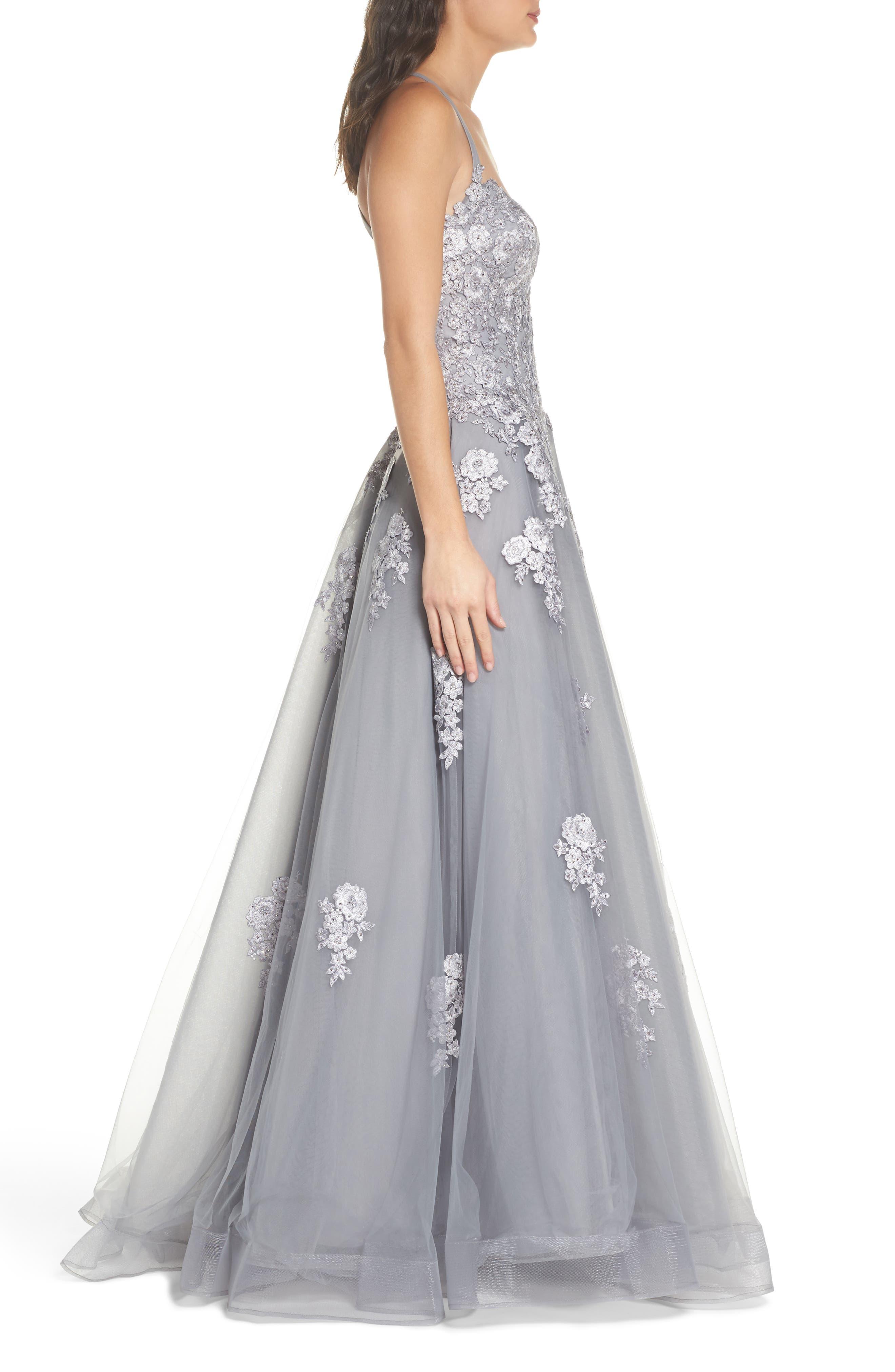 Alternate Image 3  - La Femme Embellished Mesh Halter Ballgown