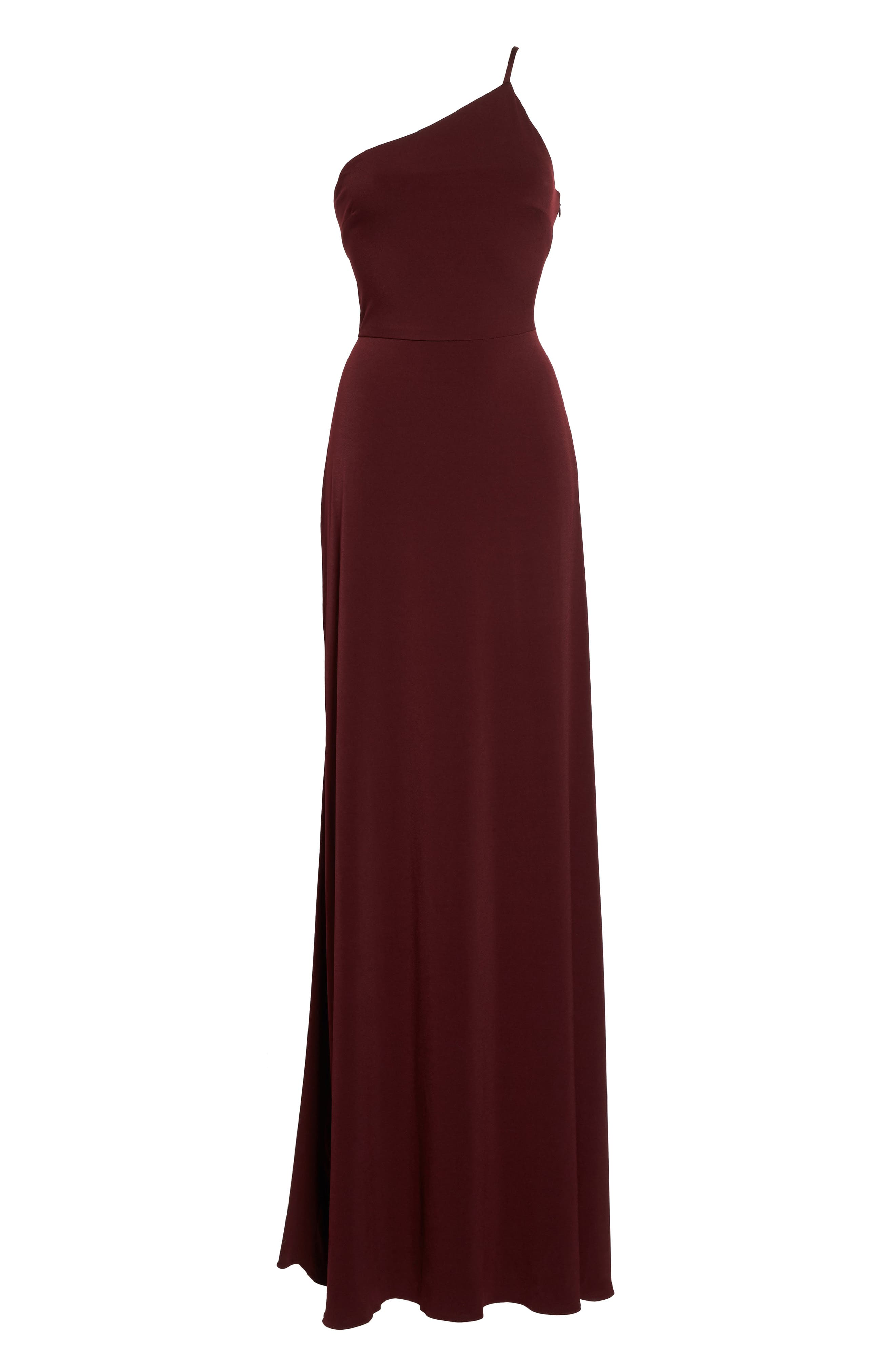 Jersey One-Shoulder Gown,                             Alternate thumbnail 6, color,                             Ruby