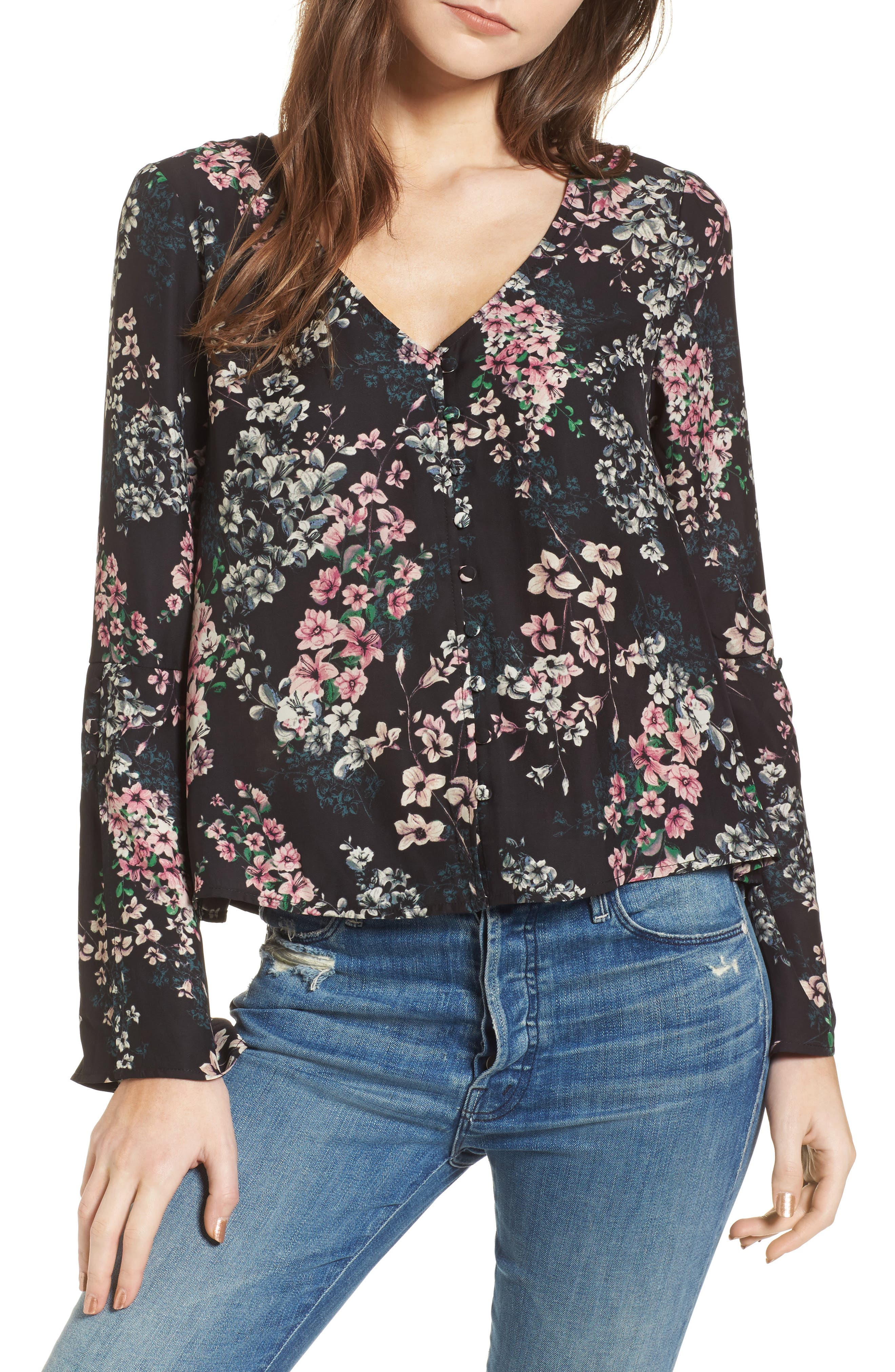 Nadette Floral Blouse,                         Main,                         color, Black