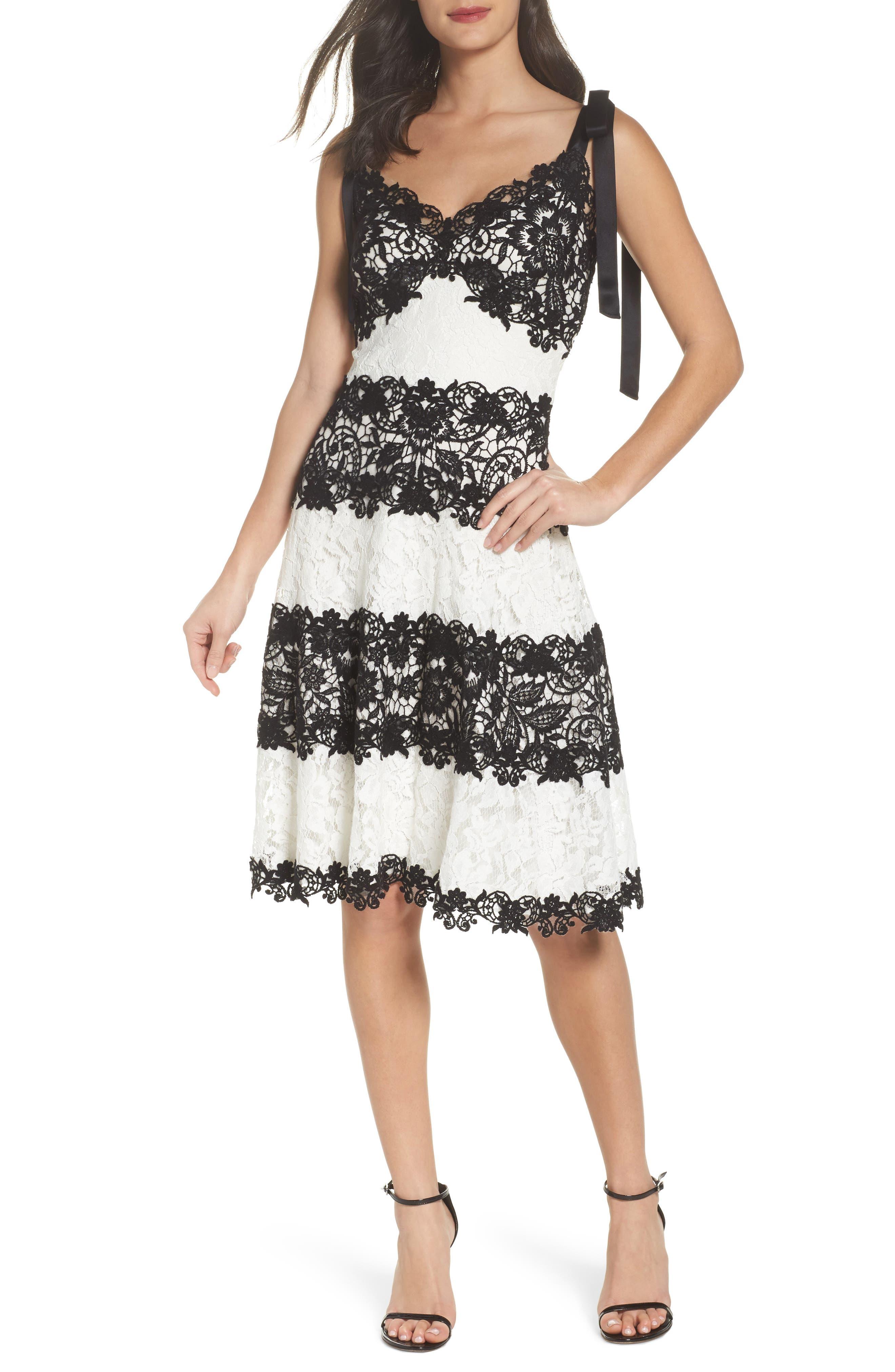 Sleeveless Lace Dress,                             Main thumbnail 1, color,                             Black/ Ivory