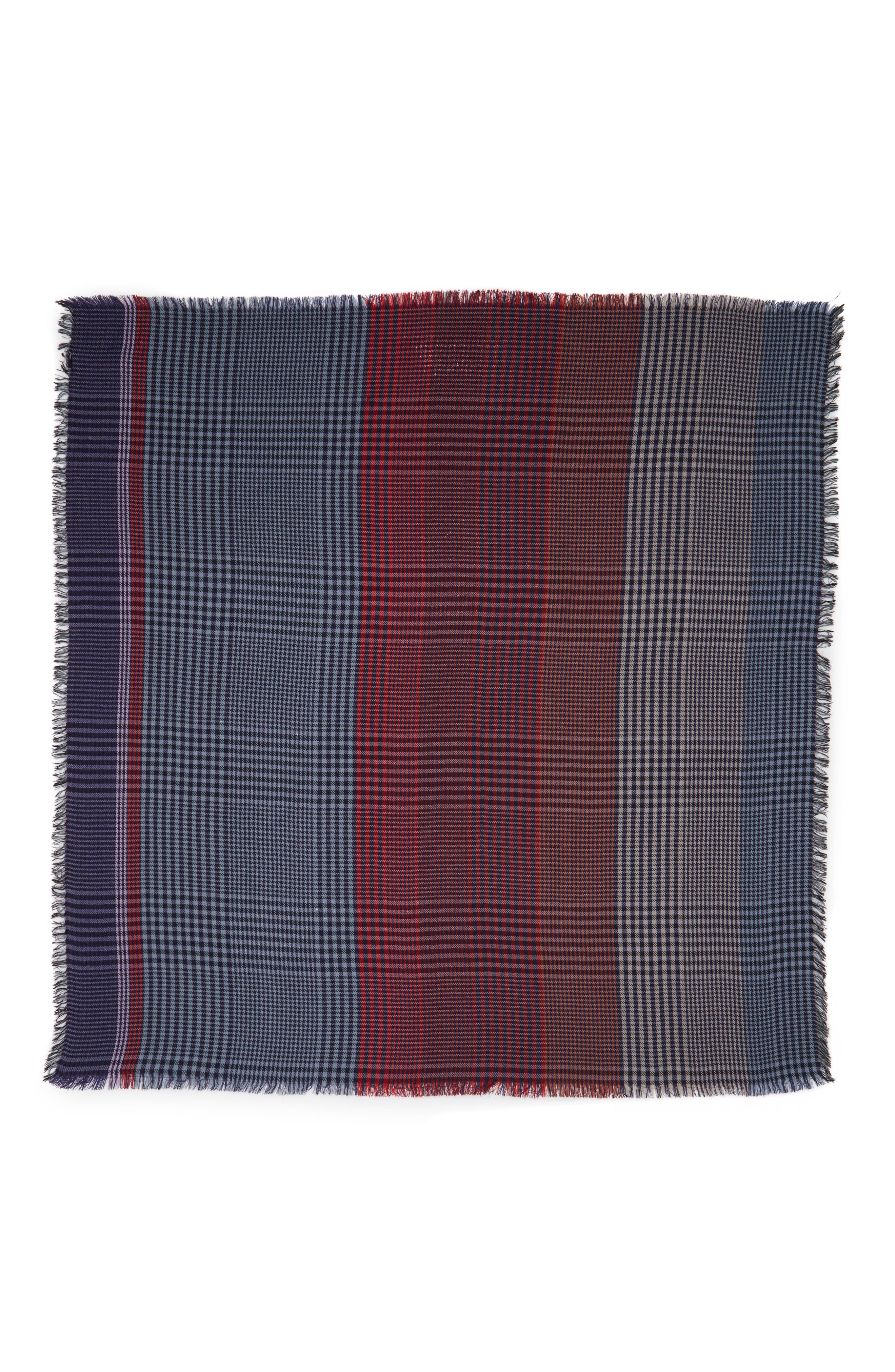 Multicolor Check Scarf,                             Alternate thumbnail 3, color,                             Blue/ Red Multi