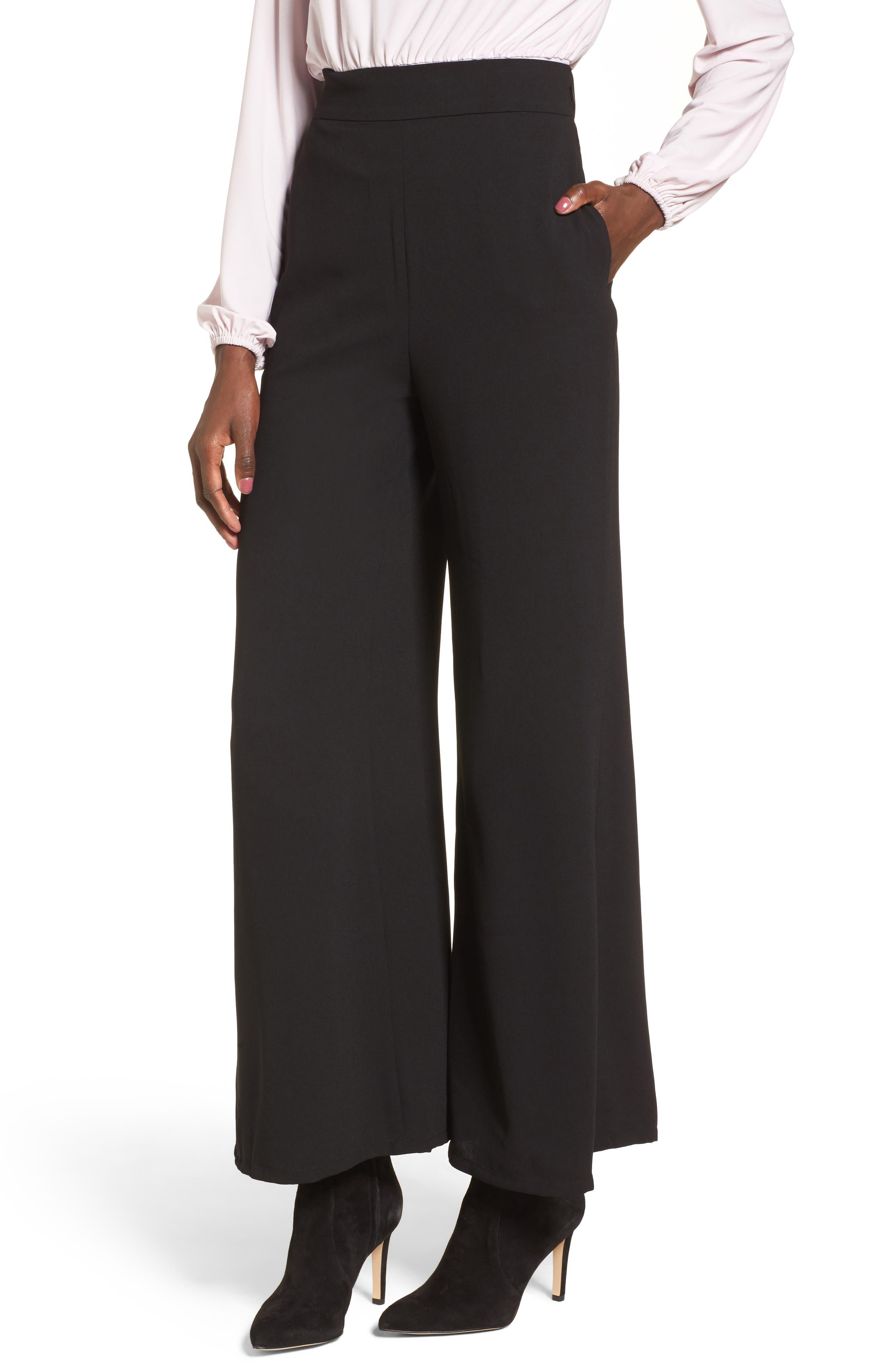 Wide Leg Pants,                         Main,                         color, Black
