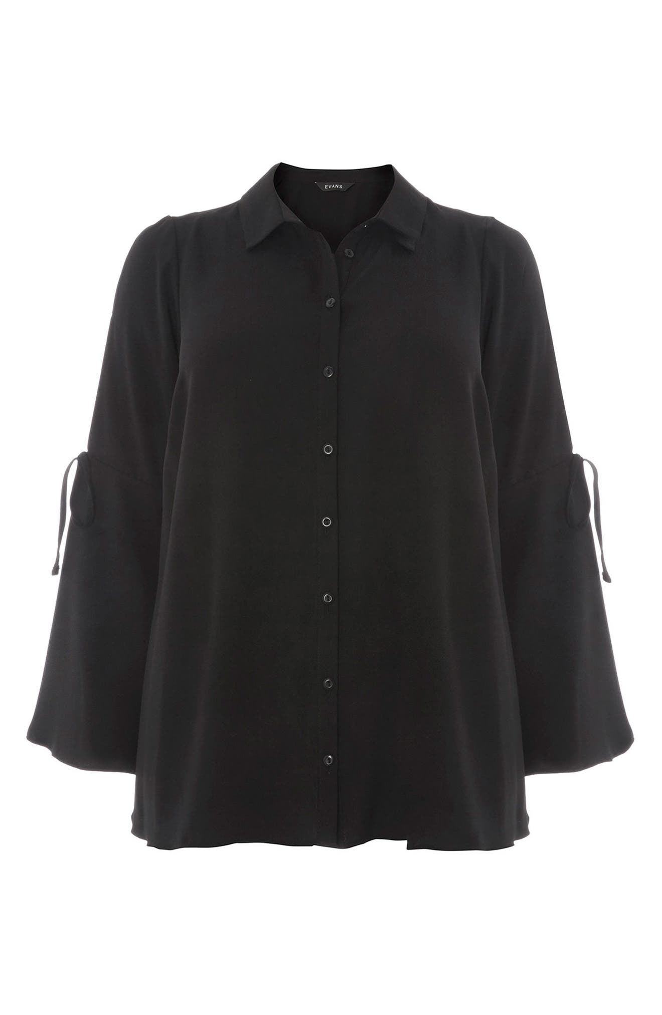 Alternate Image 5  - Evans Tie Sleeve Button Shirt (Plus Size)