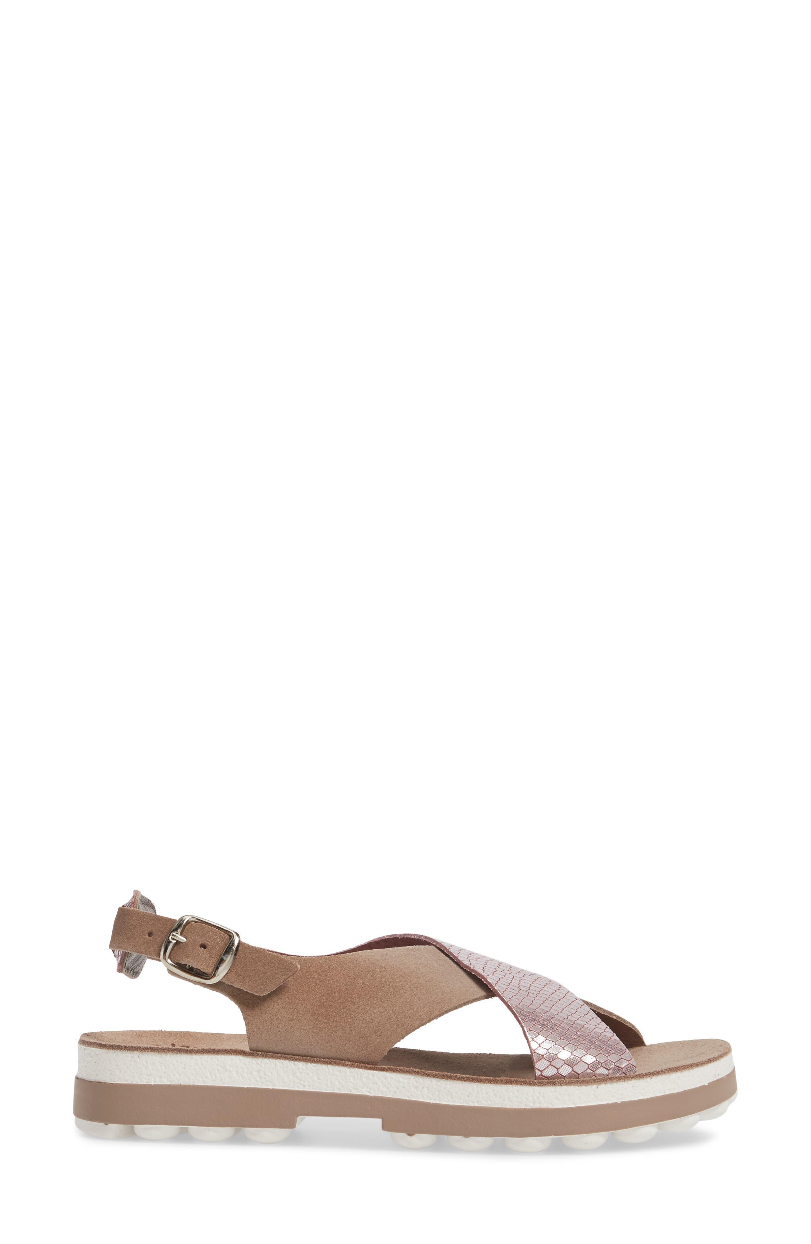 Izabella Fantasy Platform Sandal,                             Alternate thumbnail 3, color,                             Coffee Snake Leather