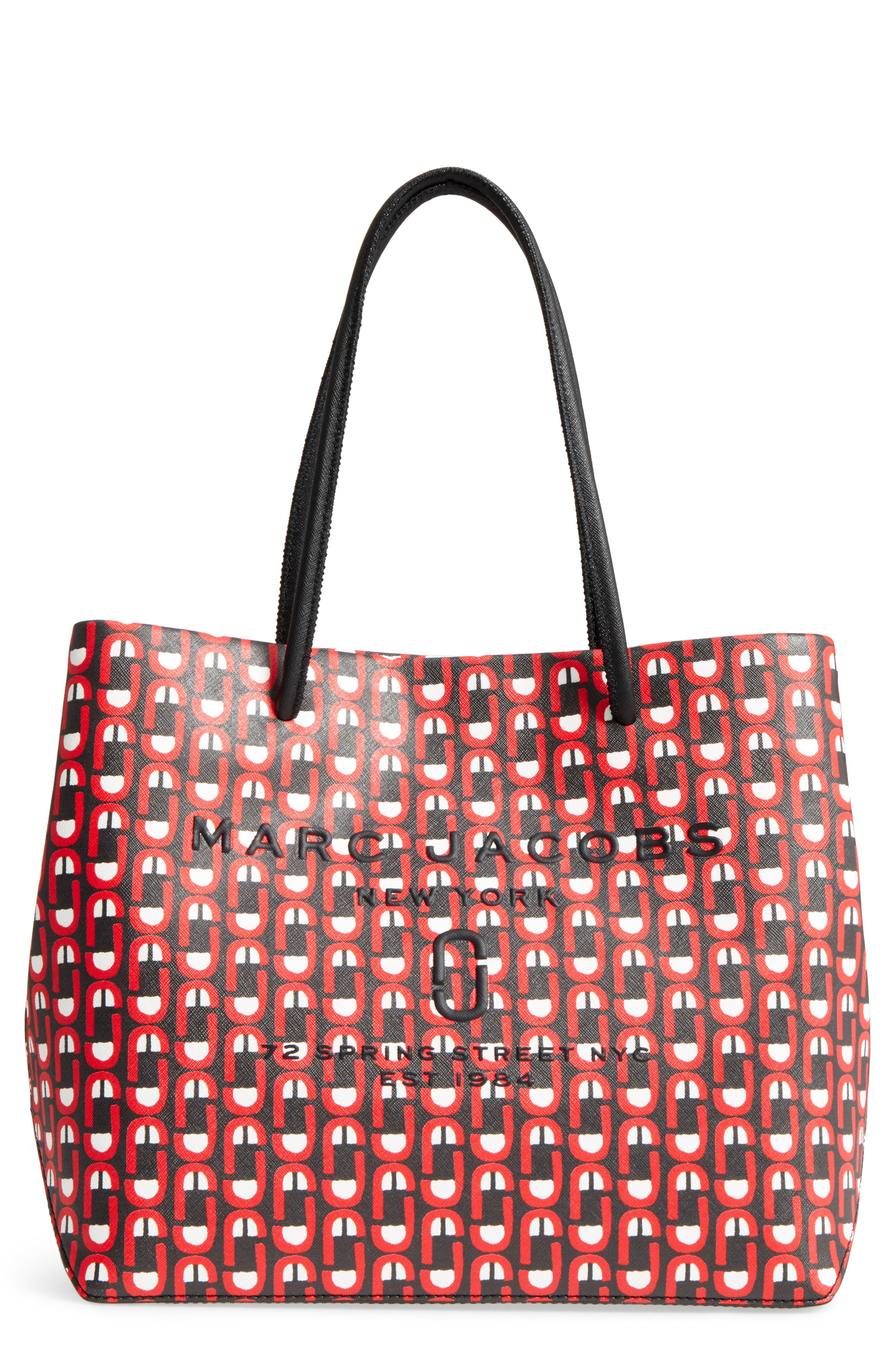Logo Scream Leather East/West Tote,                             Main thumbnail 1, color,                             Red Multi