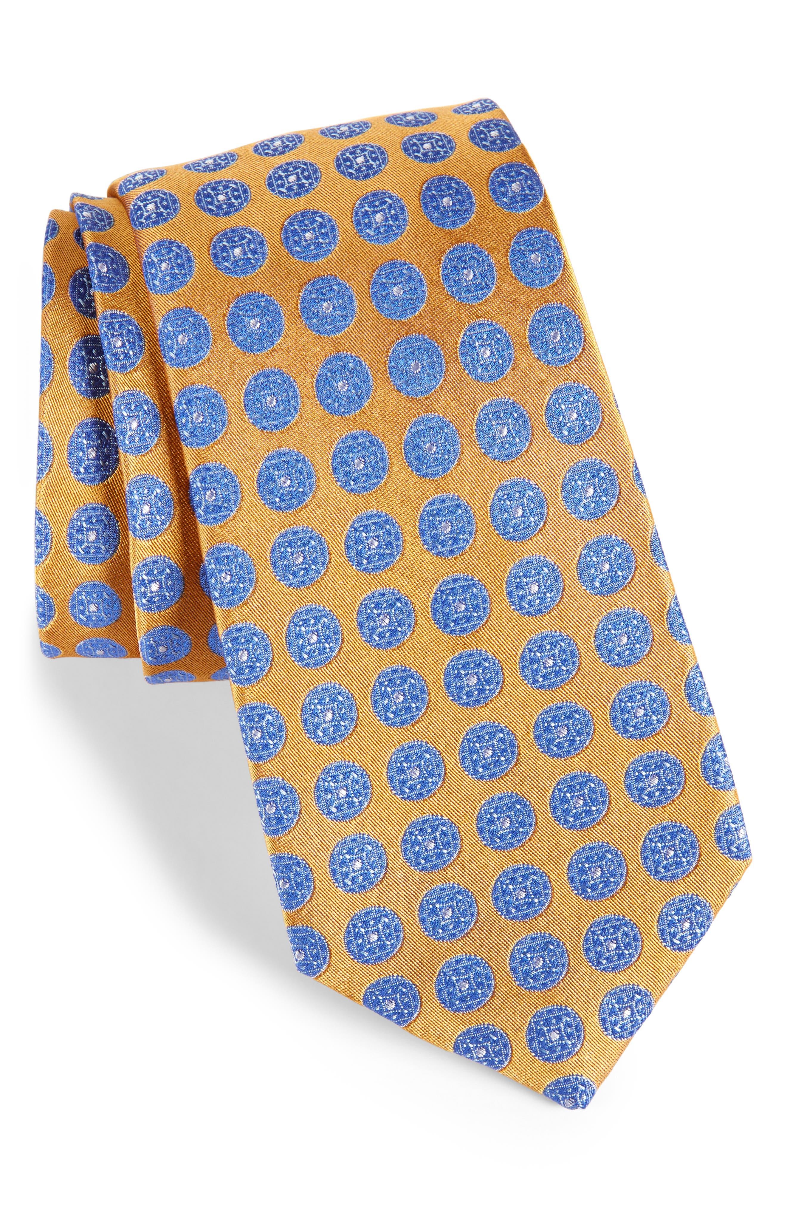Carlos Medallion Silk Tie,                         Main,                         color, Gold