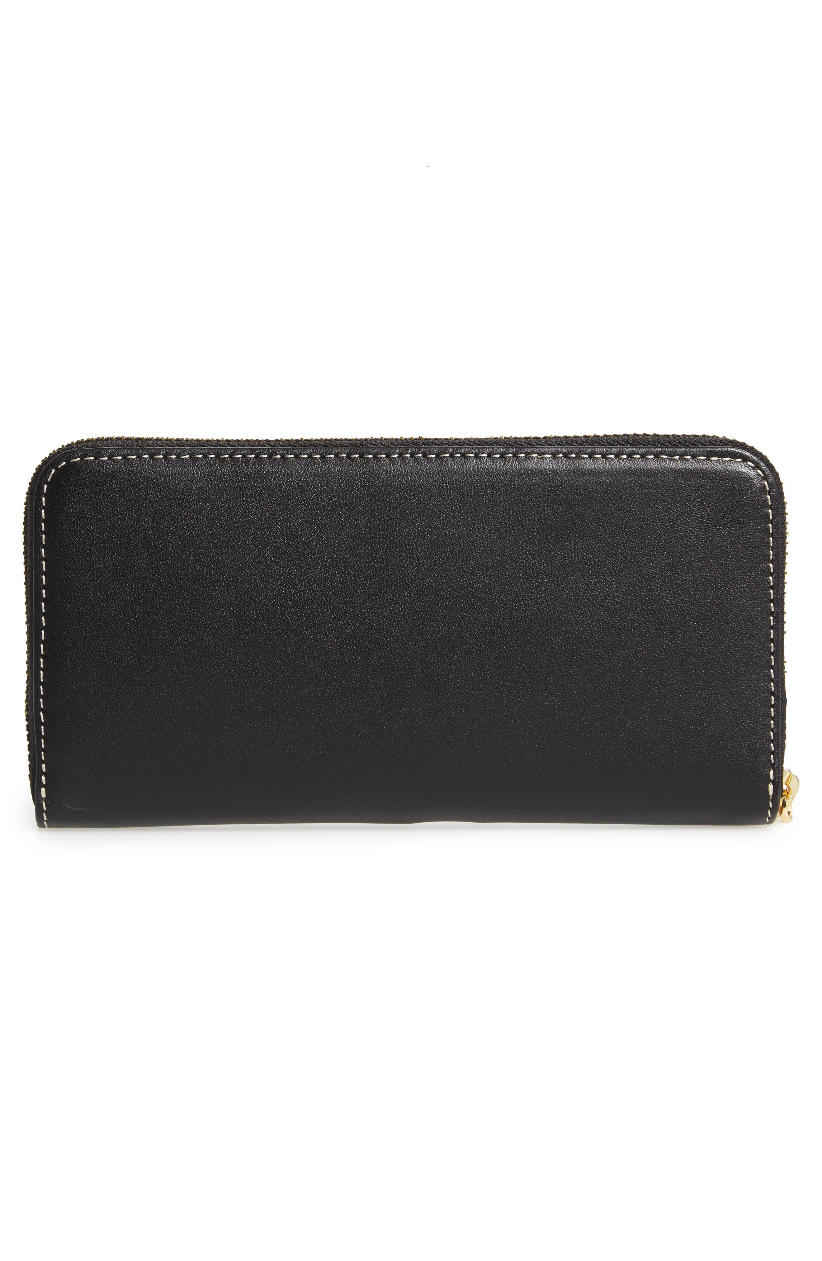 Kennedy Calfskin Leather Zip Around Wallet,                             Alternate thumbnail 3, color,                             Black