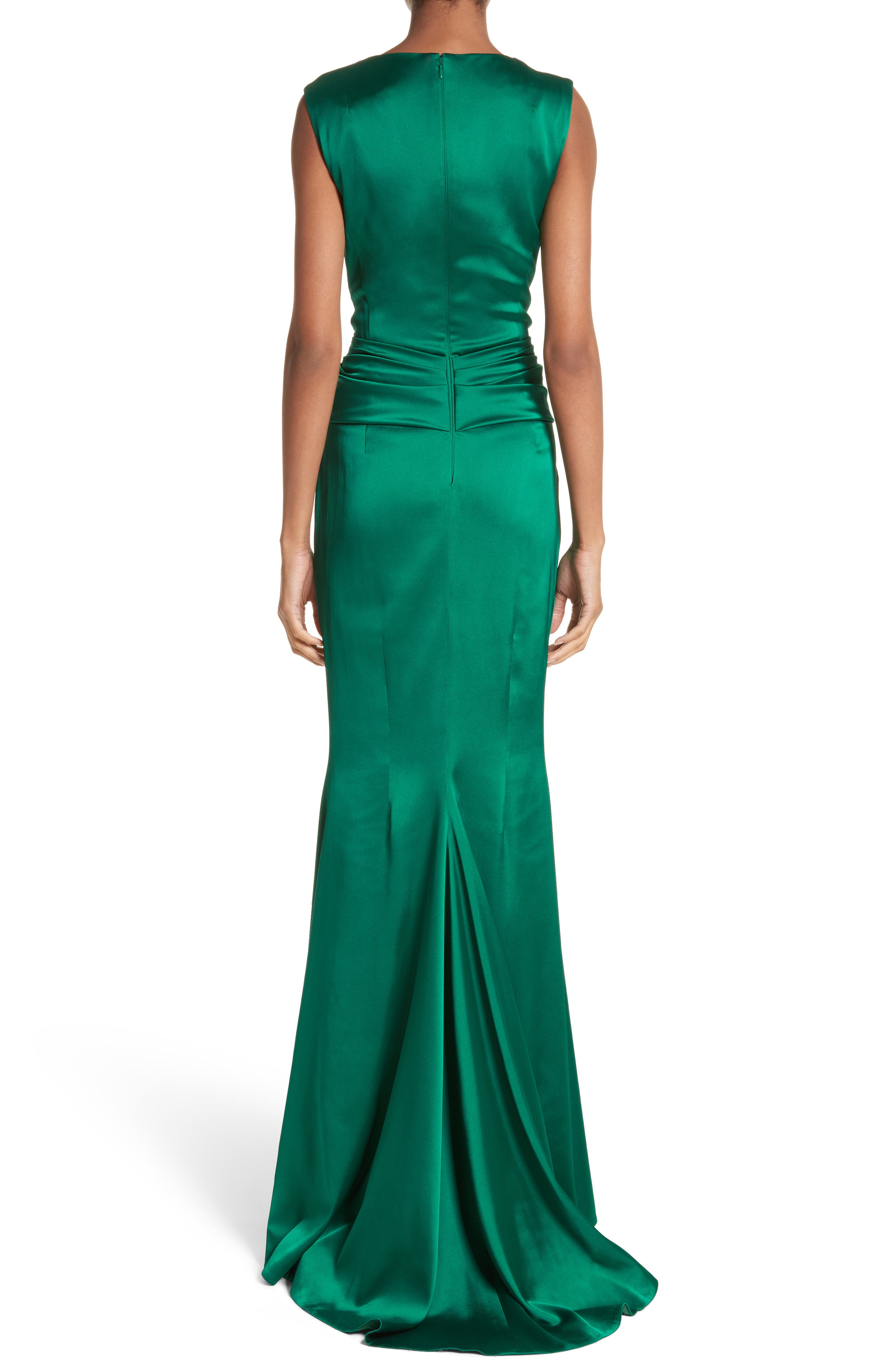 Crepe Satin V-Neck Gown,                             Alternate thumbnail 2, color,                             Emerald