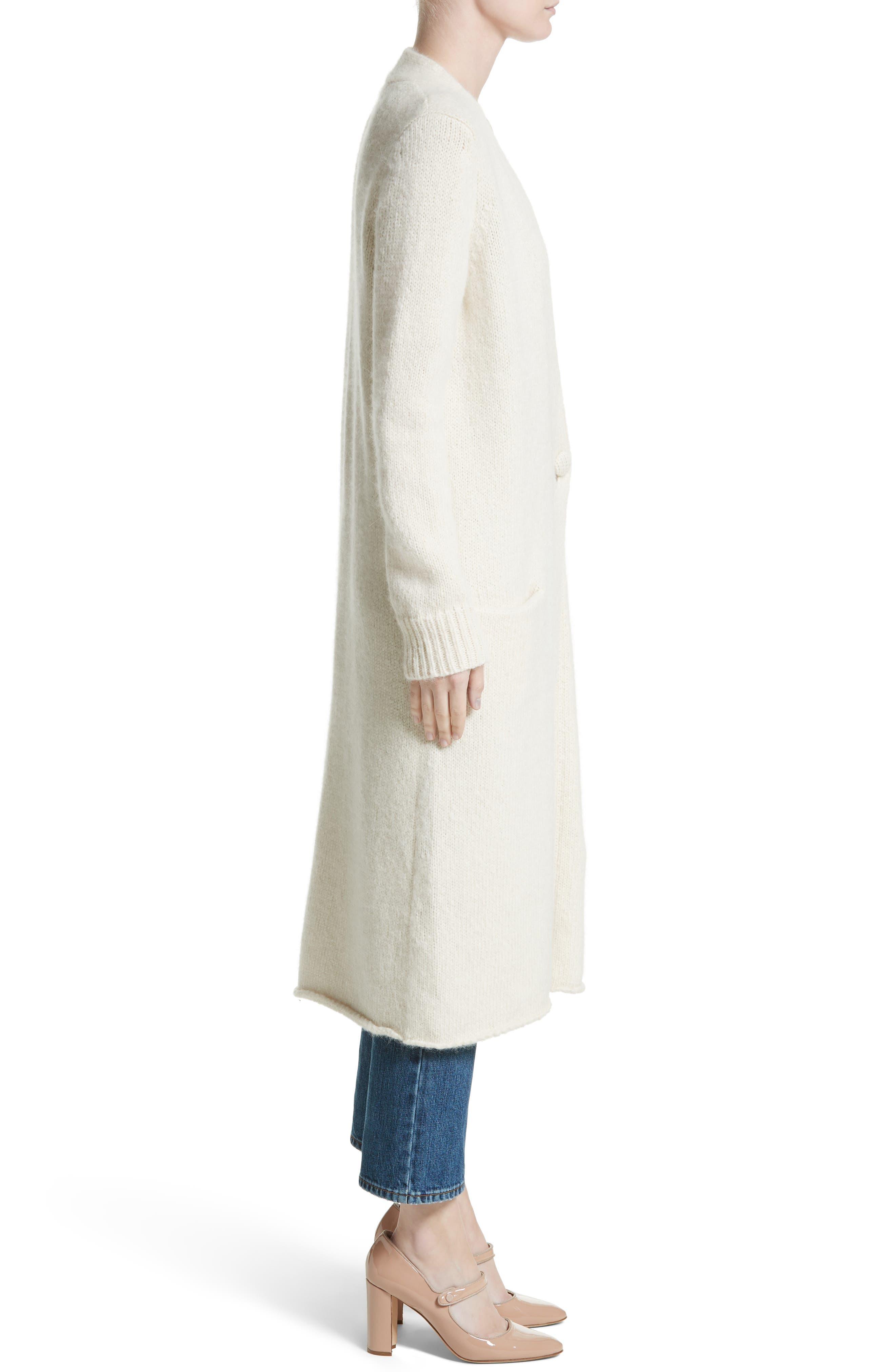 Long Alpaca Blend Button Cardigan,                             Alternate thumbnail 3, color,                             Ivory