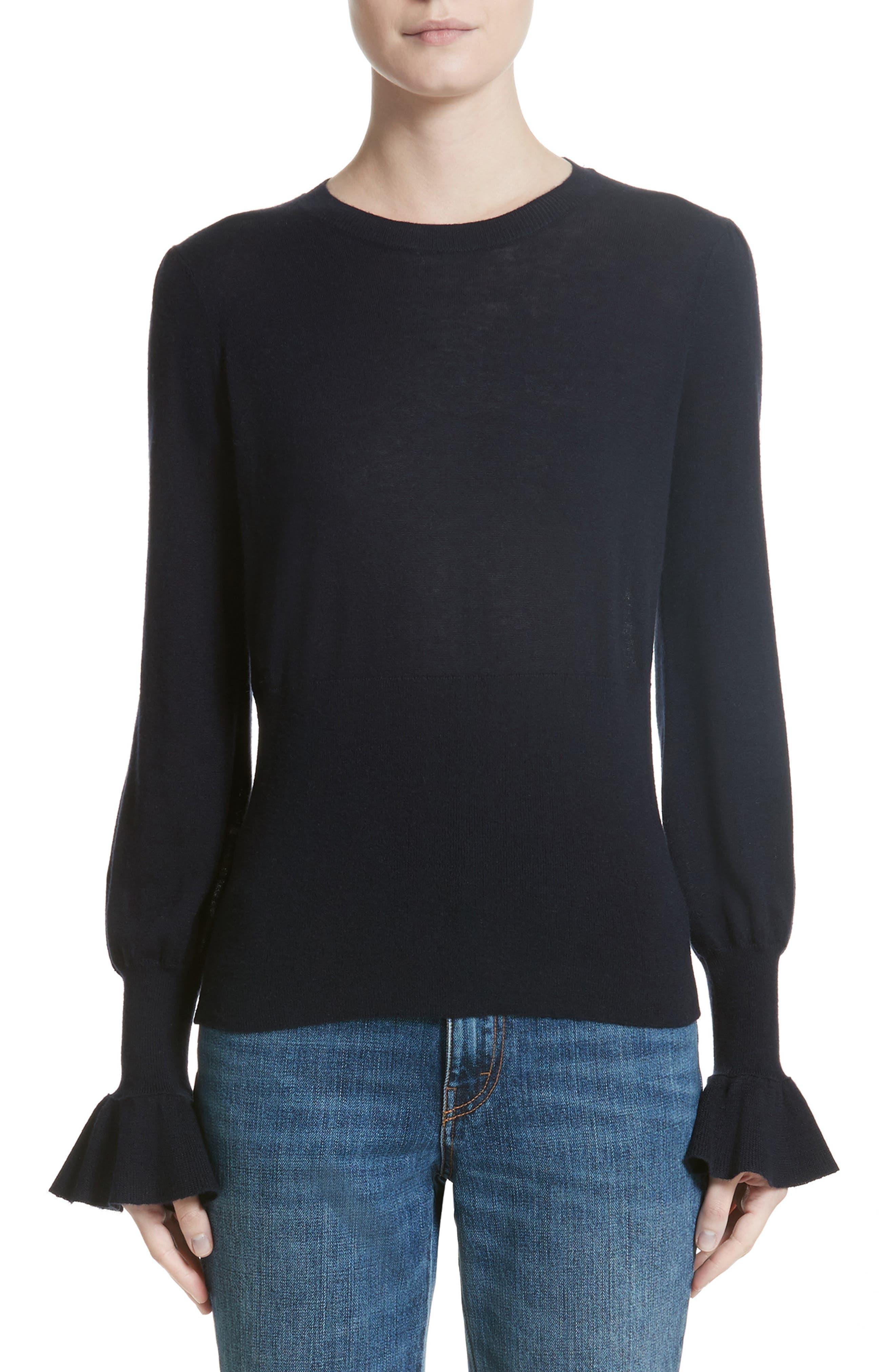Ruffle Sleeve Silk & Cashmere Sweater,                         Main,                         color, Navy