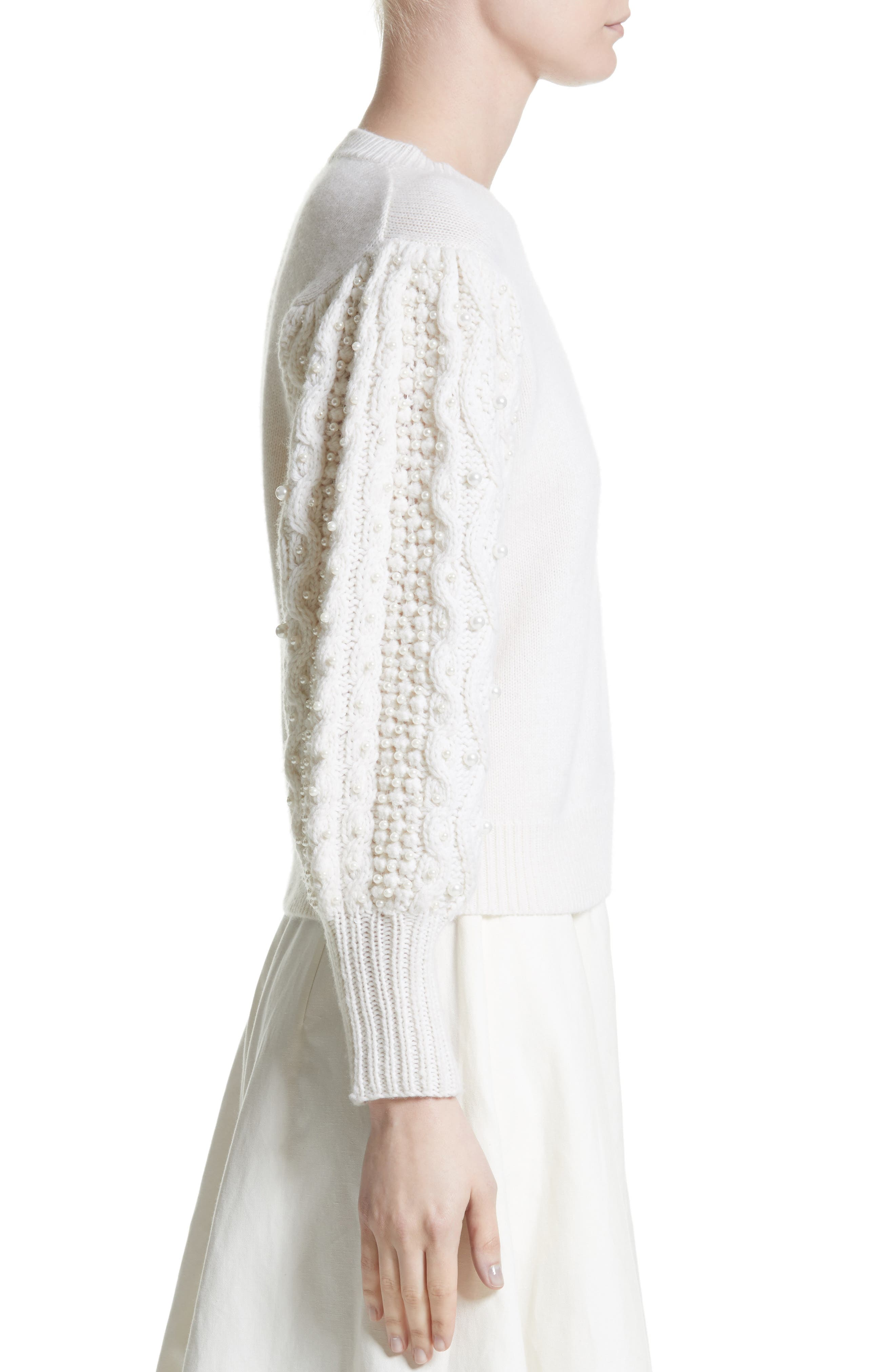 Imitation Pearl Embellished Wool & Cashmere Sweater,                             Alternate thumbnail 3, color,                             Ivory