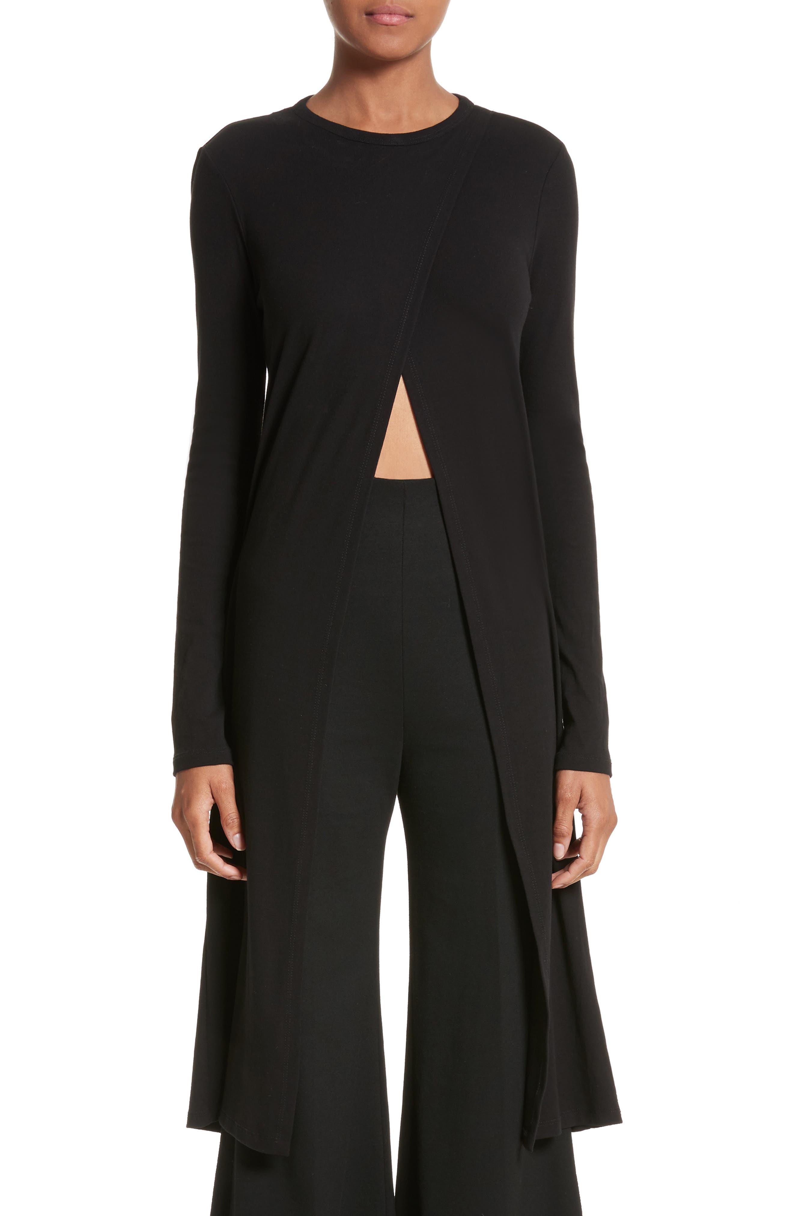Cutaway Cotton Jersey Tunic,                         Main,                         color, Black
