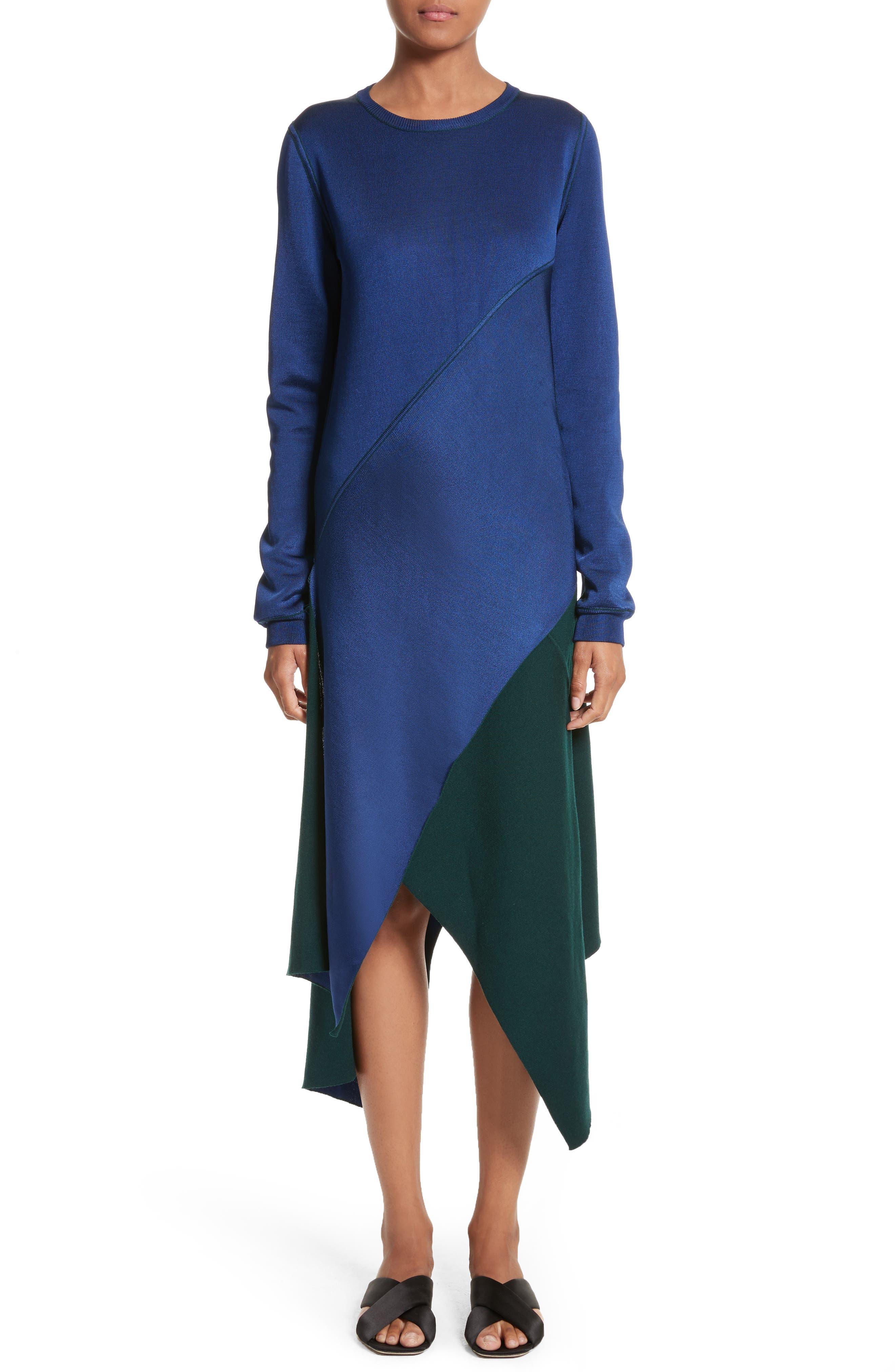 Reversible Asymmetrical Knit Midi Skirt,                             Alternate thumbnail 9, color,                             Ivy/ Lapis
