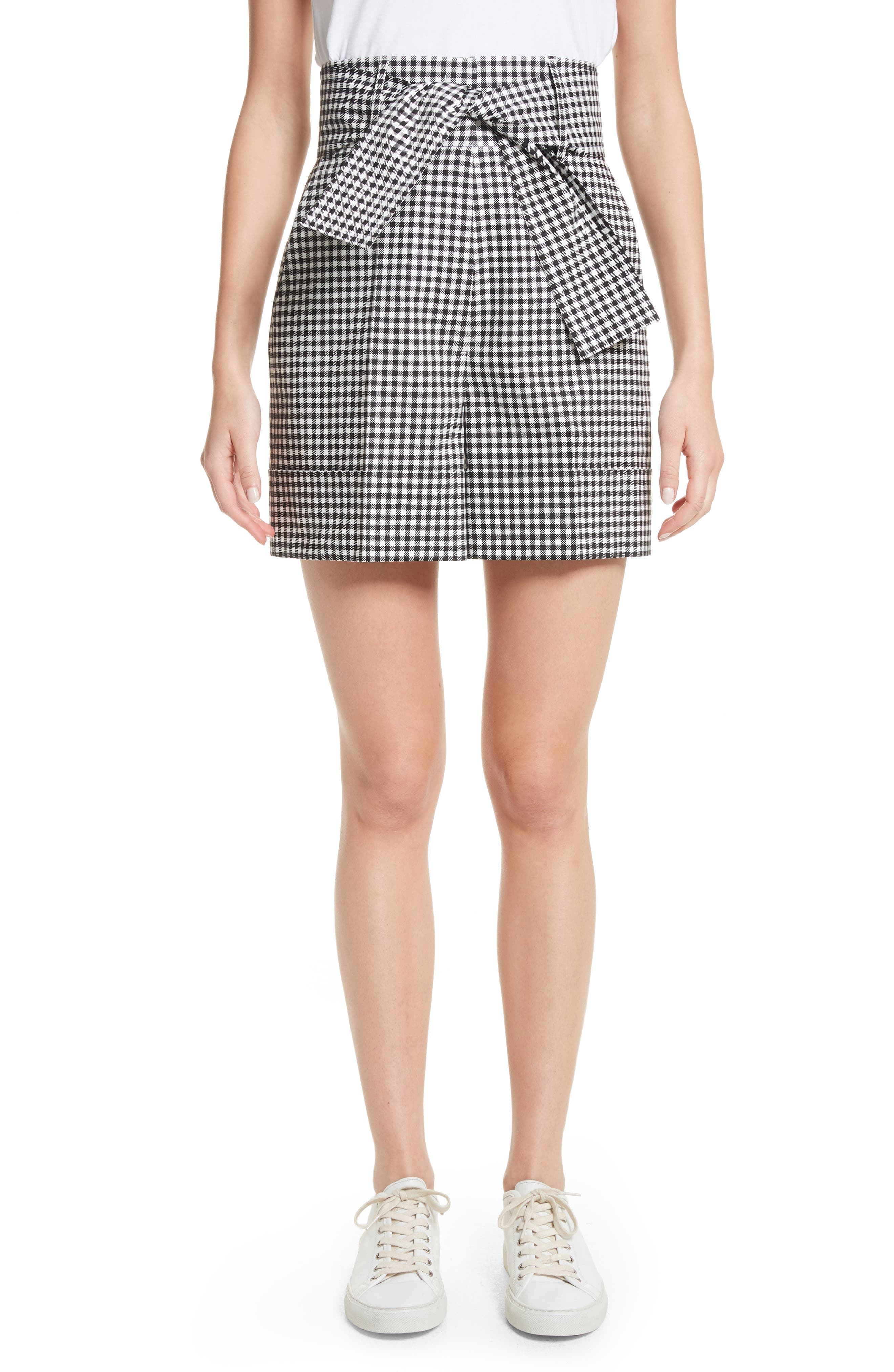 Tie Waist Gingham Shorts,                             Main thumbnail 1, color,                             Gingham
