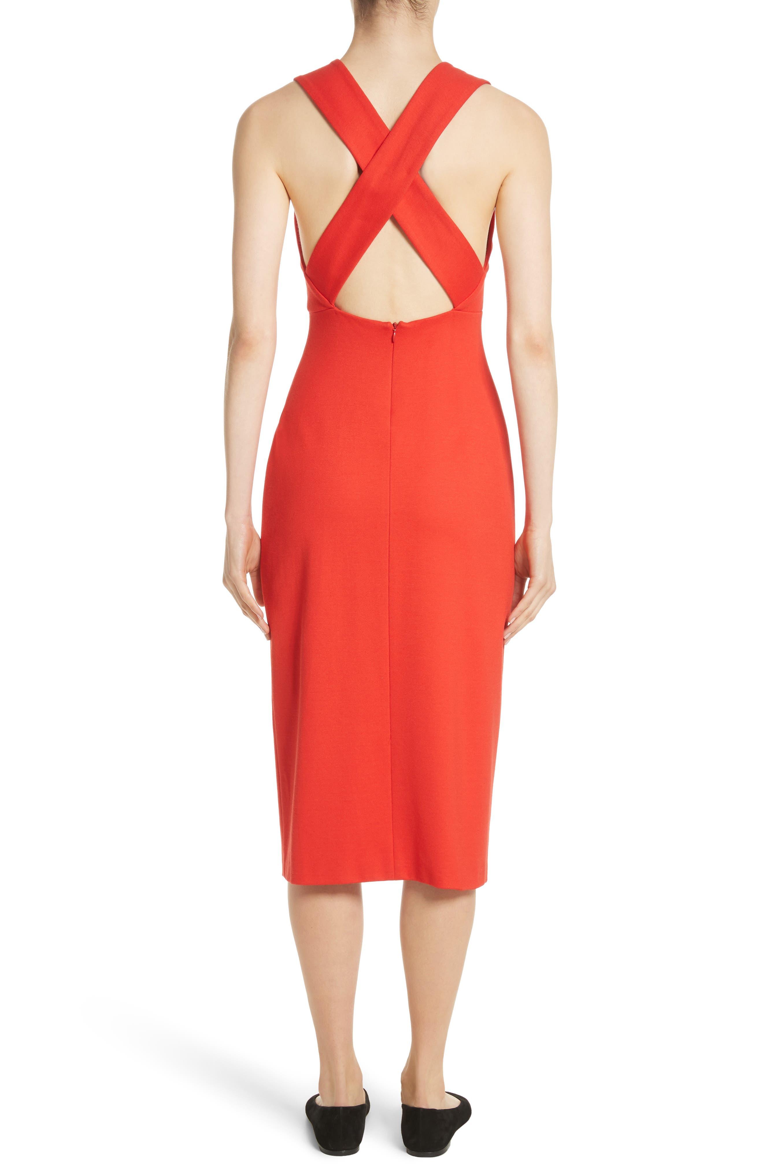 Crossback Sheath Dress,                             Alternate thumbnail 2, color,                             Scarlet