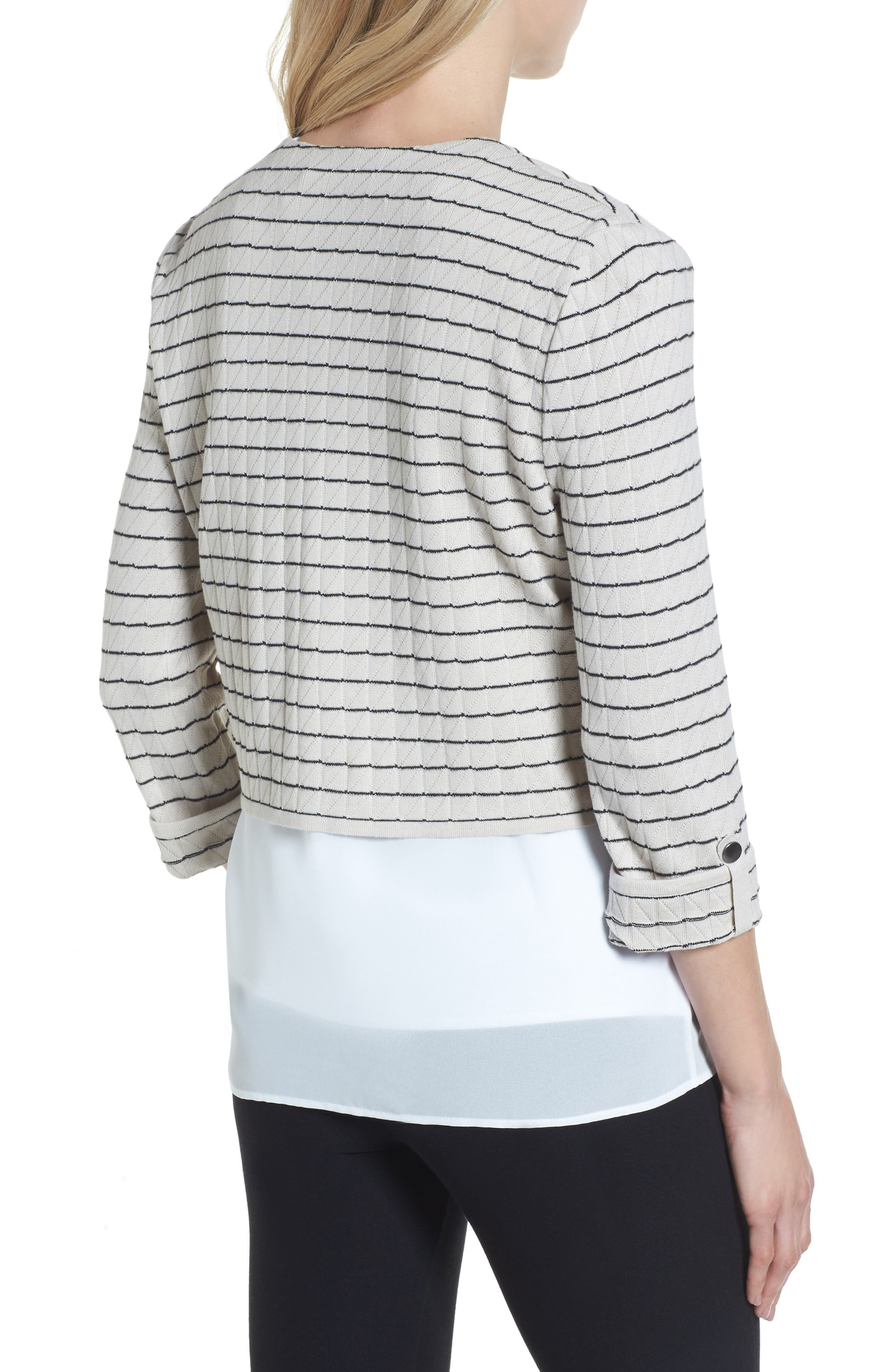 Layered Look Knit Jacket,                             Alternate thumbnail 2, color,                             Almond Beige/ Black/ White