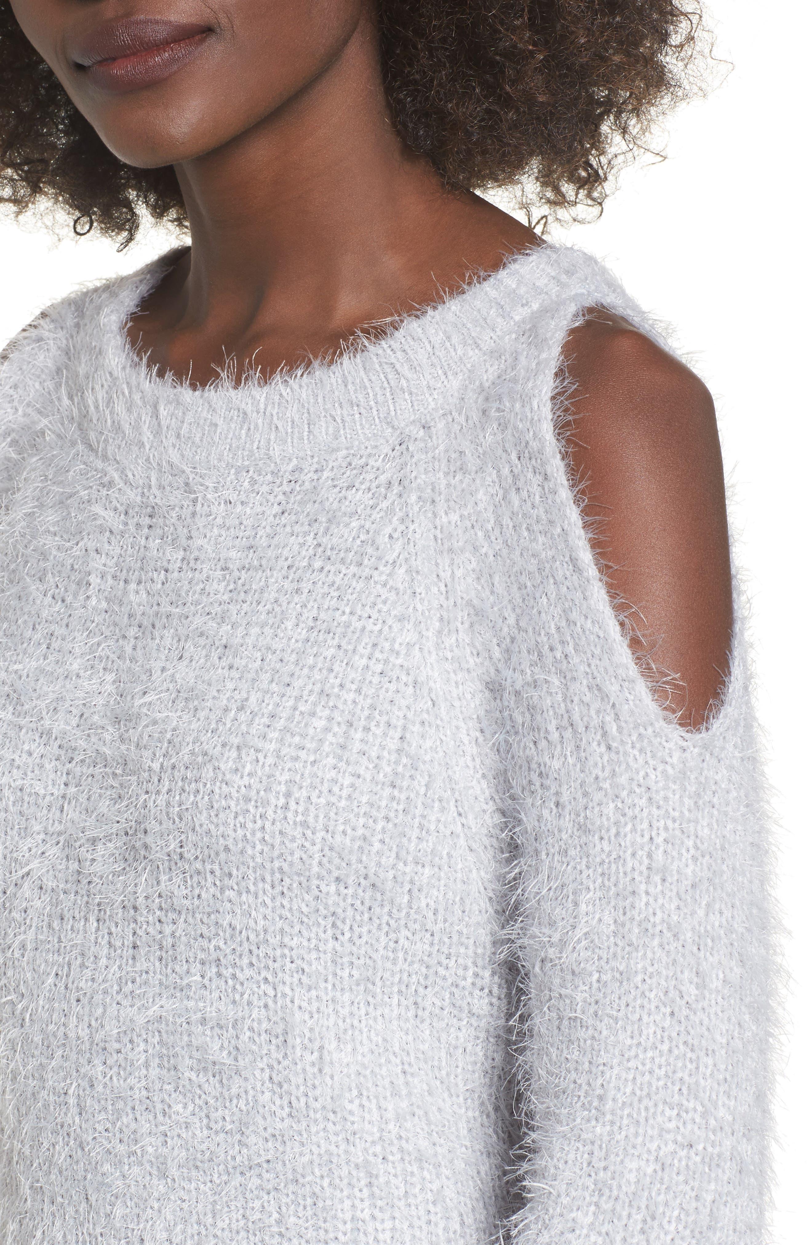 Cold Shoulder Sweater,                             Alternate thumbnail 4, color,                             Light Purple Grey