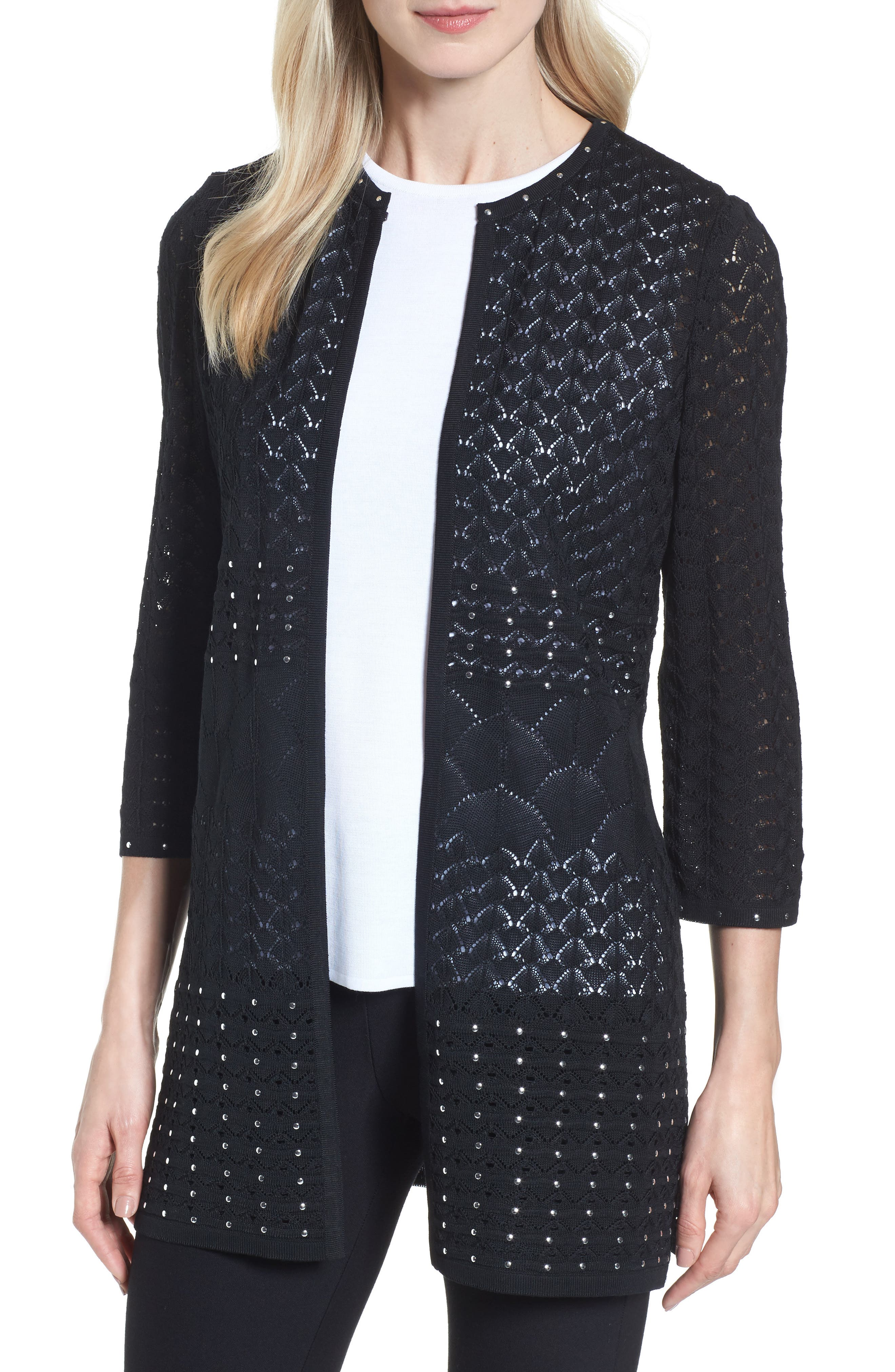 Studded Pointelle Sweater Jacket,                             Main thumbnail 1, color,                             Black