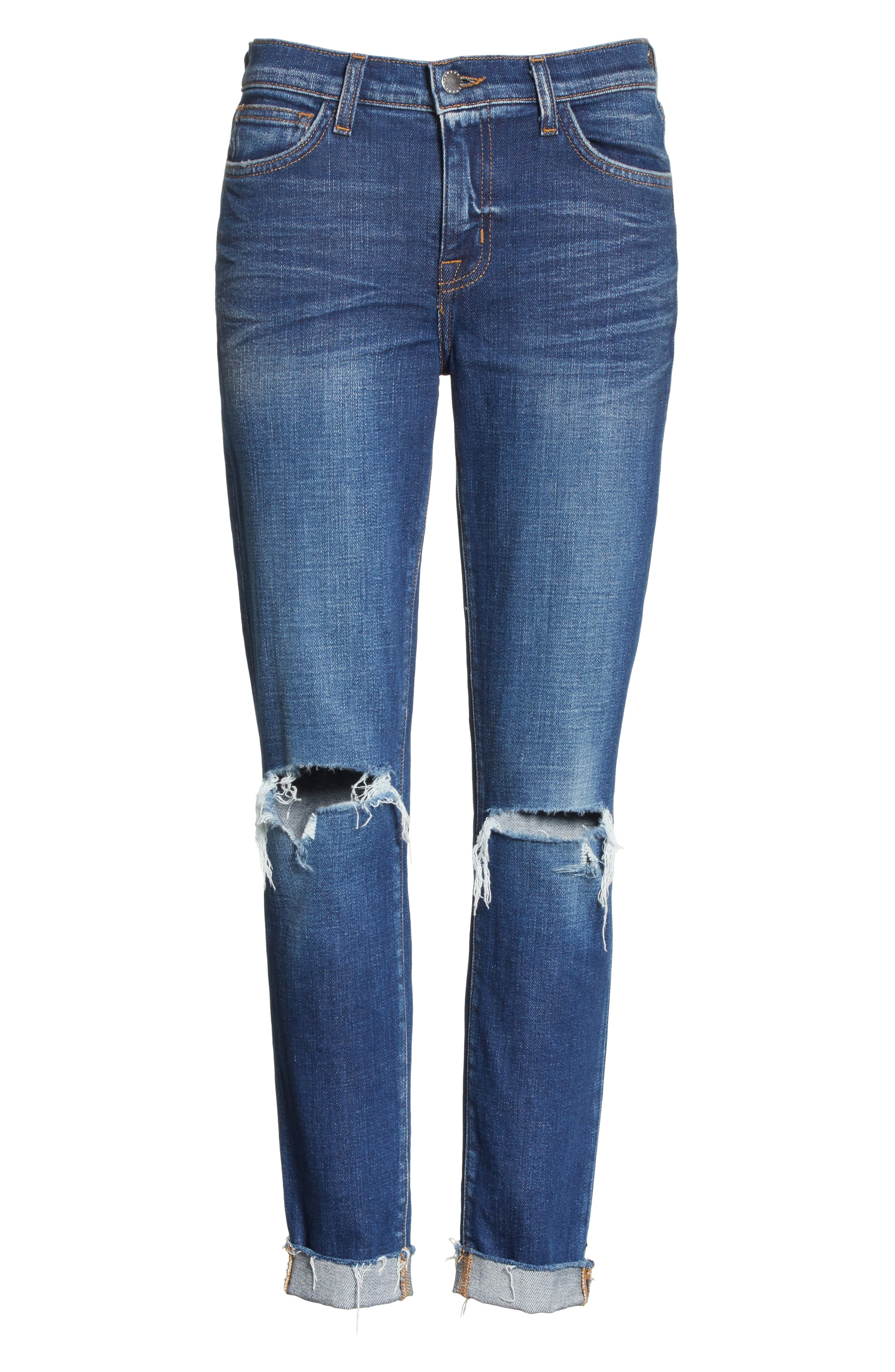Rachel Ripped Crop Slim Fit Jeans,                             Alternate thumbnail 6, color,                             Diamond Destruct