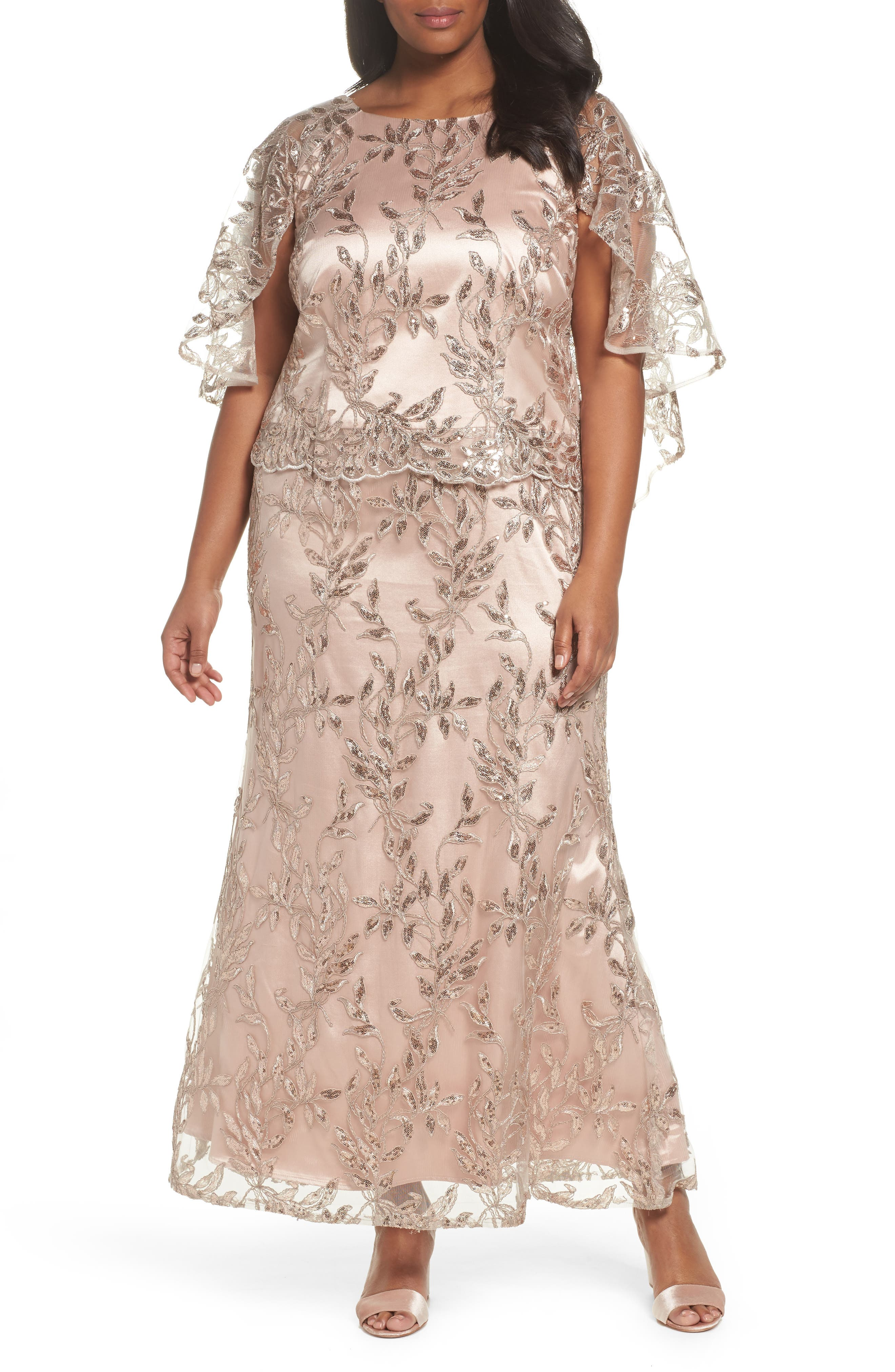 Sequin Embroidered Capelet Gown,                         Main,                         color, Latte