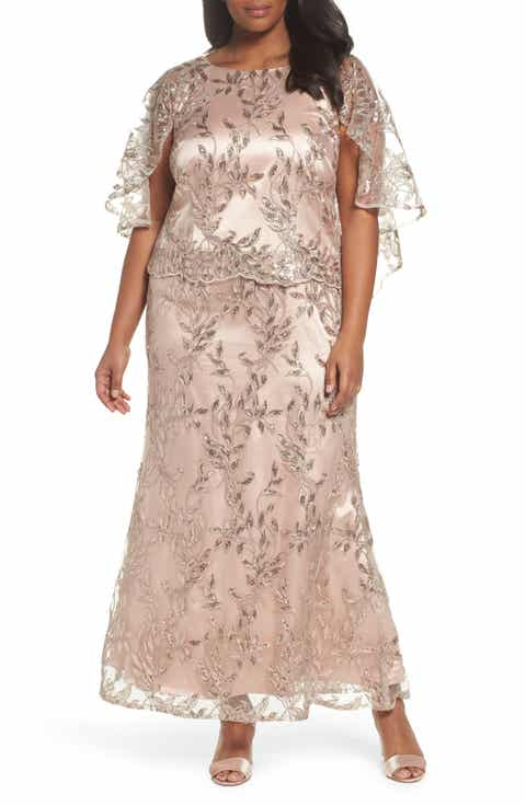 Brianna Sequin Embroidered Capelet Gown (Plus Size)