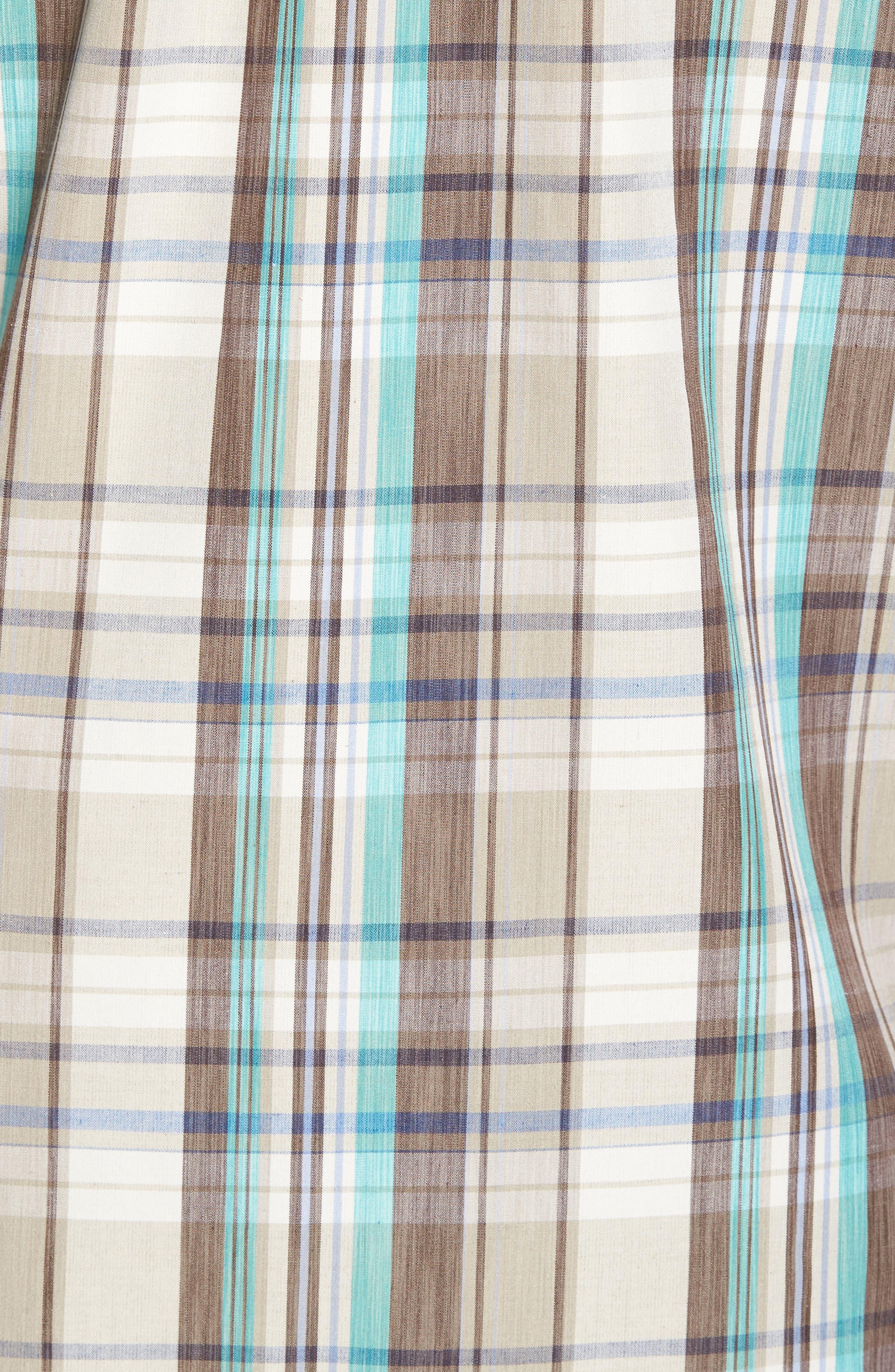 Royal Palm Plaid Sport Shirt,                             Alternate thumbnail 5, color,                             Twill