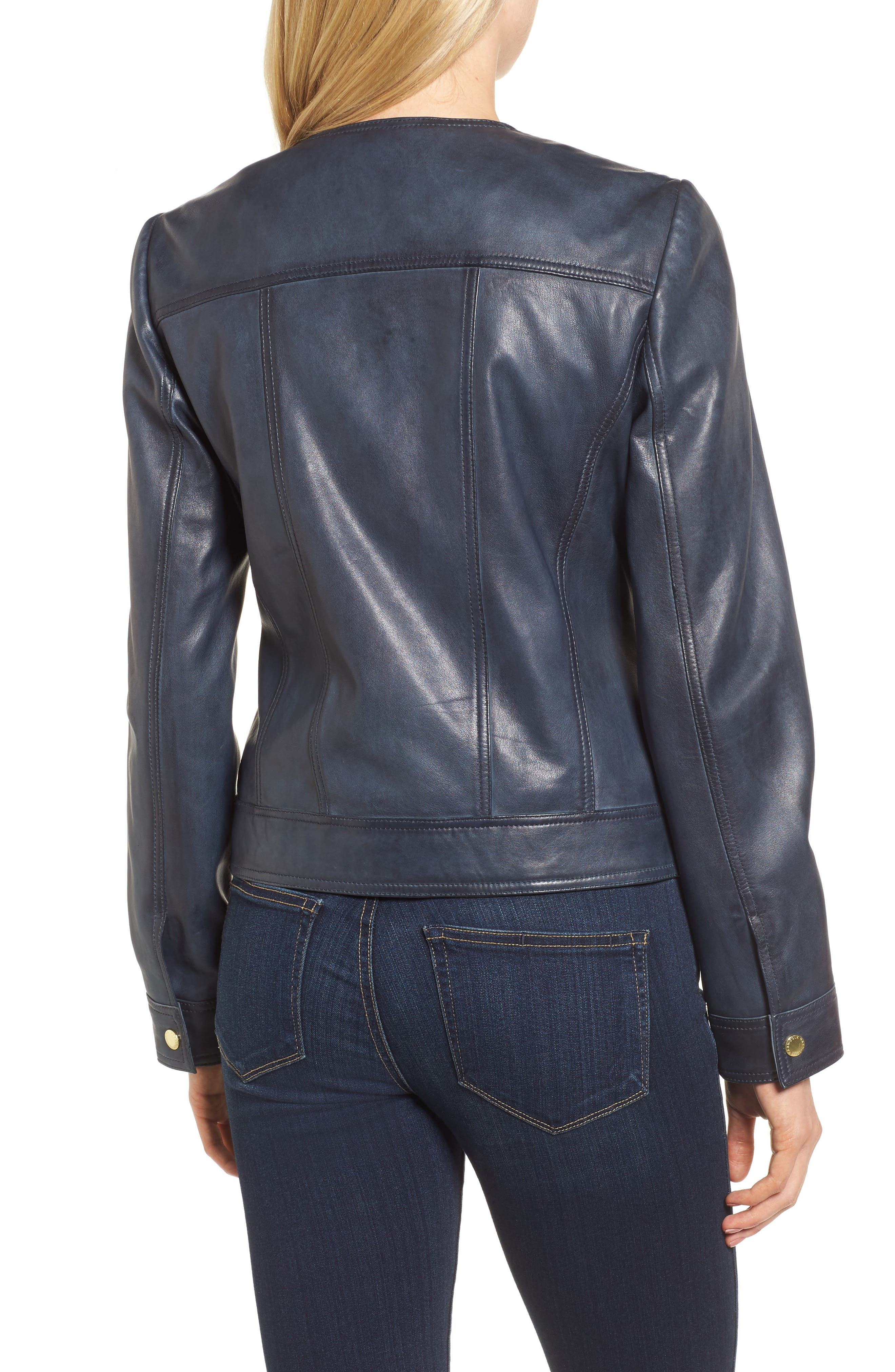 Alternate Image 2  - Cole Haan Signature Collarless Leather Trucker Jacket