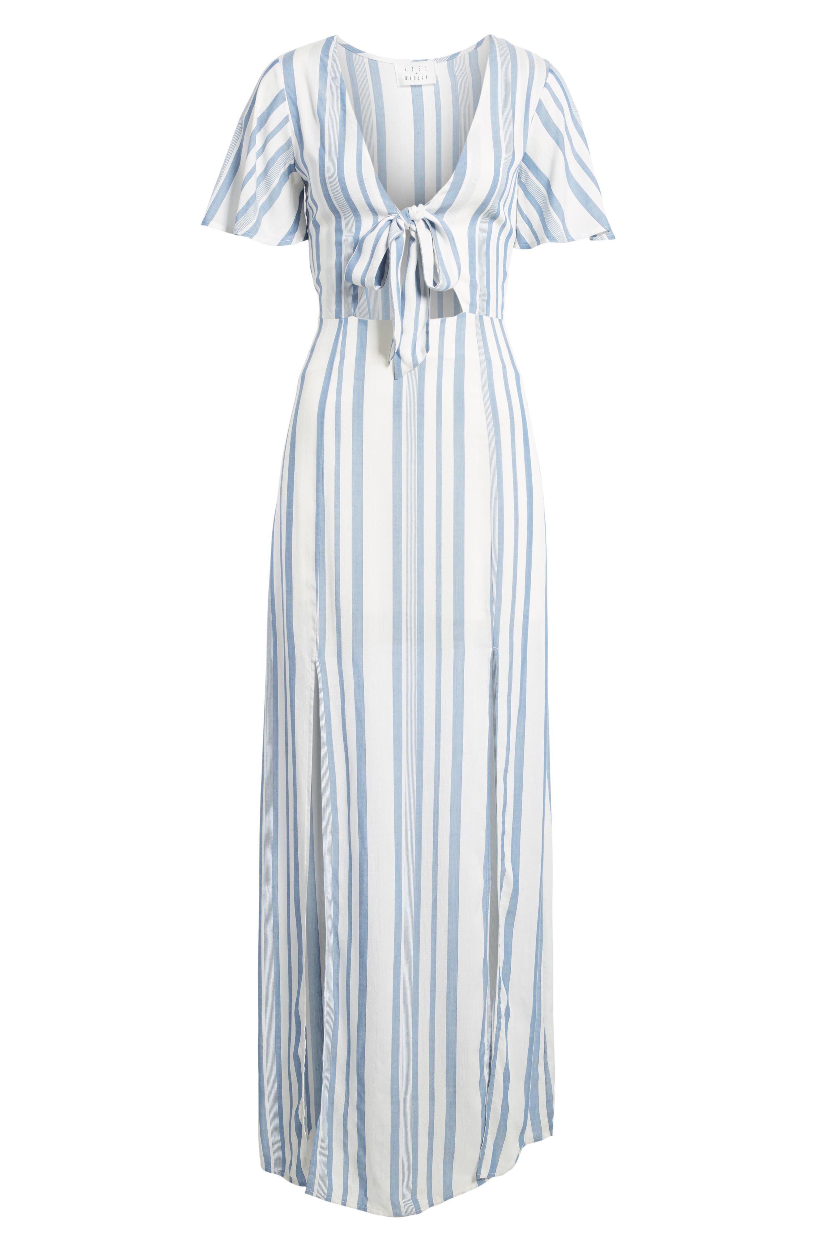 Bow Front Marina Maxi Dress,                             Alternate thumbnail 6, color,                             White/ Blue