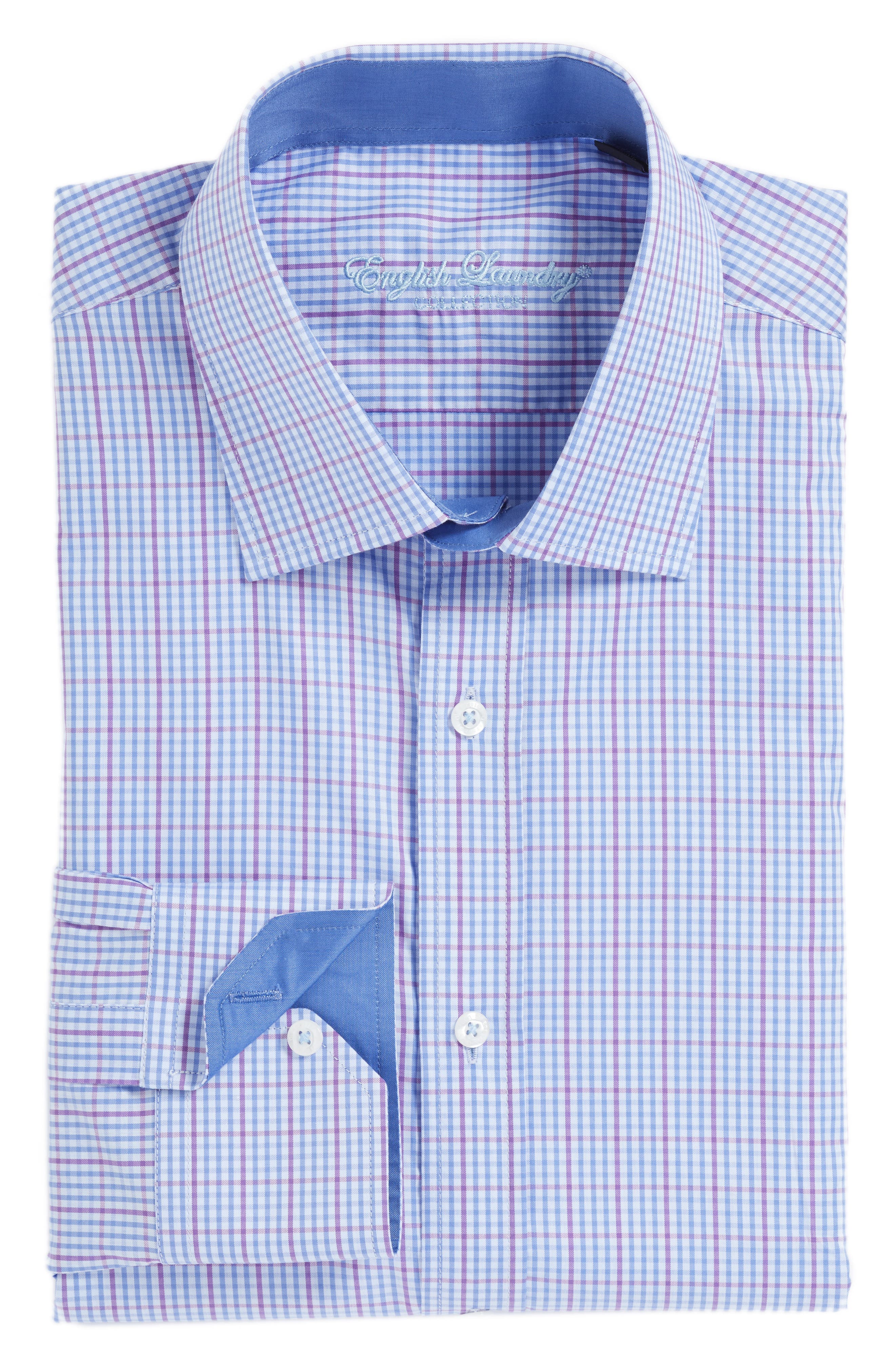 Trim Fit Check Dress Shirt,                             Main thumbnail 1, color,                             Blue