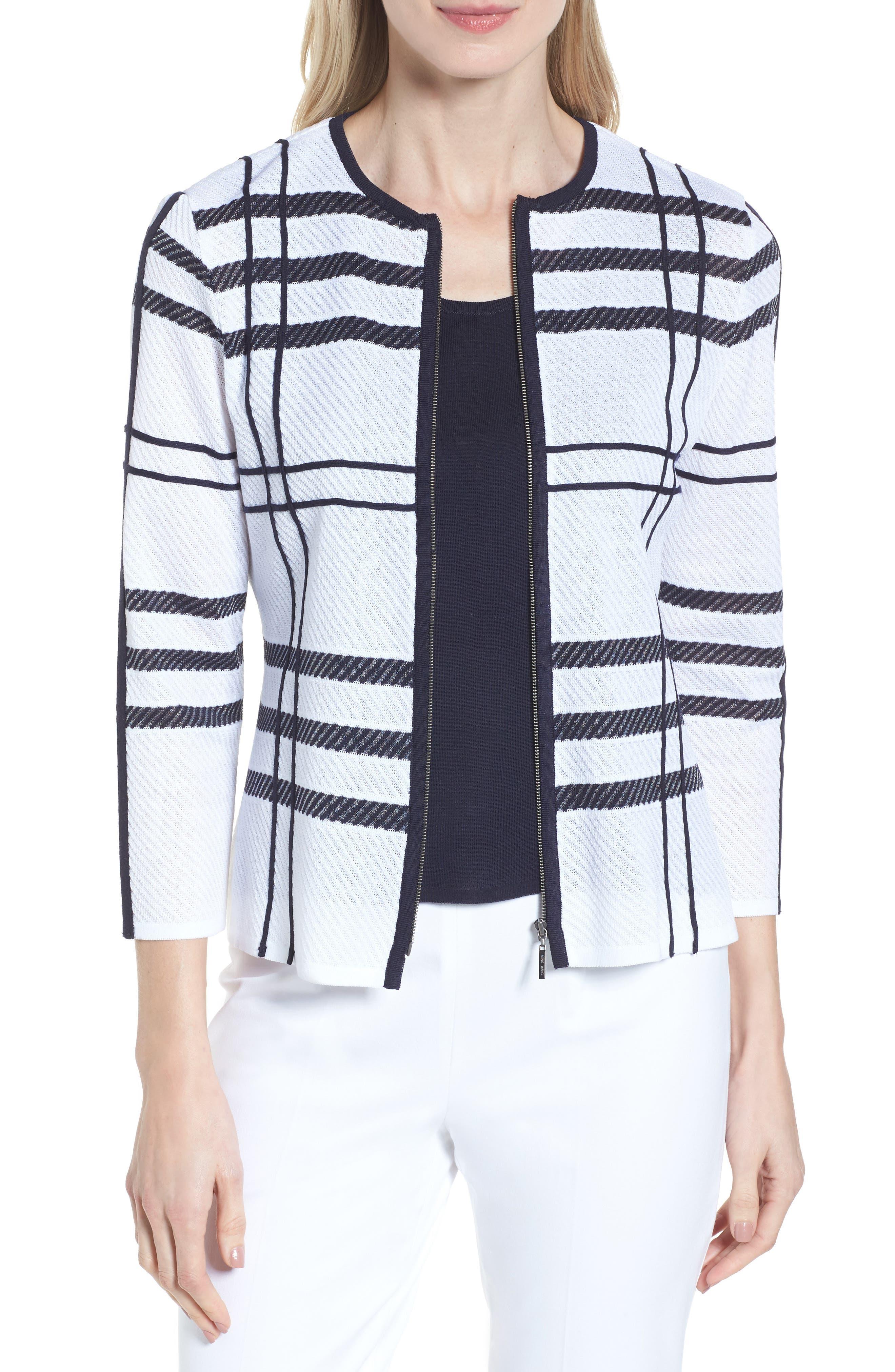 Plaid Jacquard Jacket,                         Main,                         color, White/ Navy