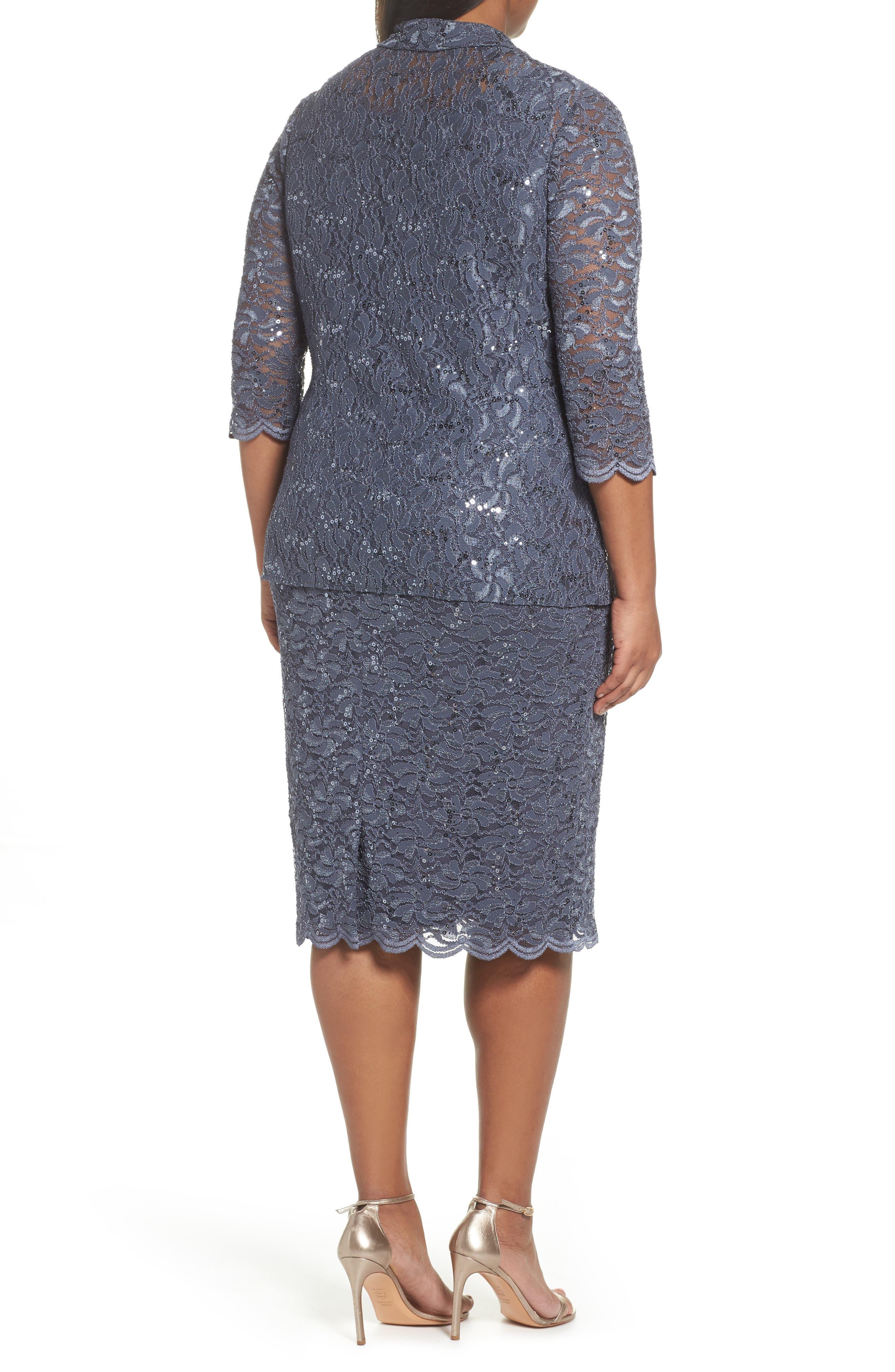 Sequin Lace Jacket Dress,                             Alternate thumbnail 2, color,                             Blue Smoke