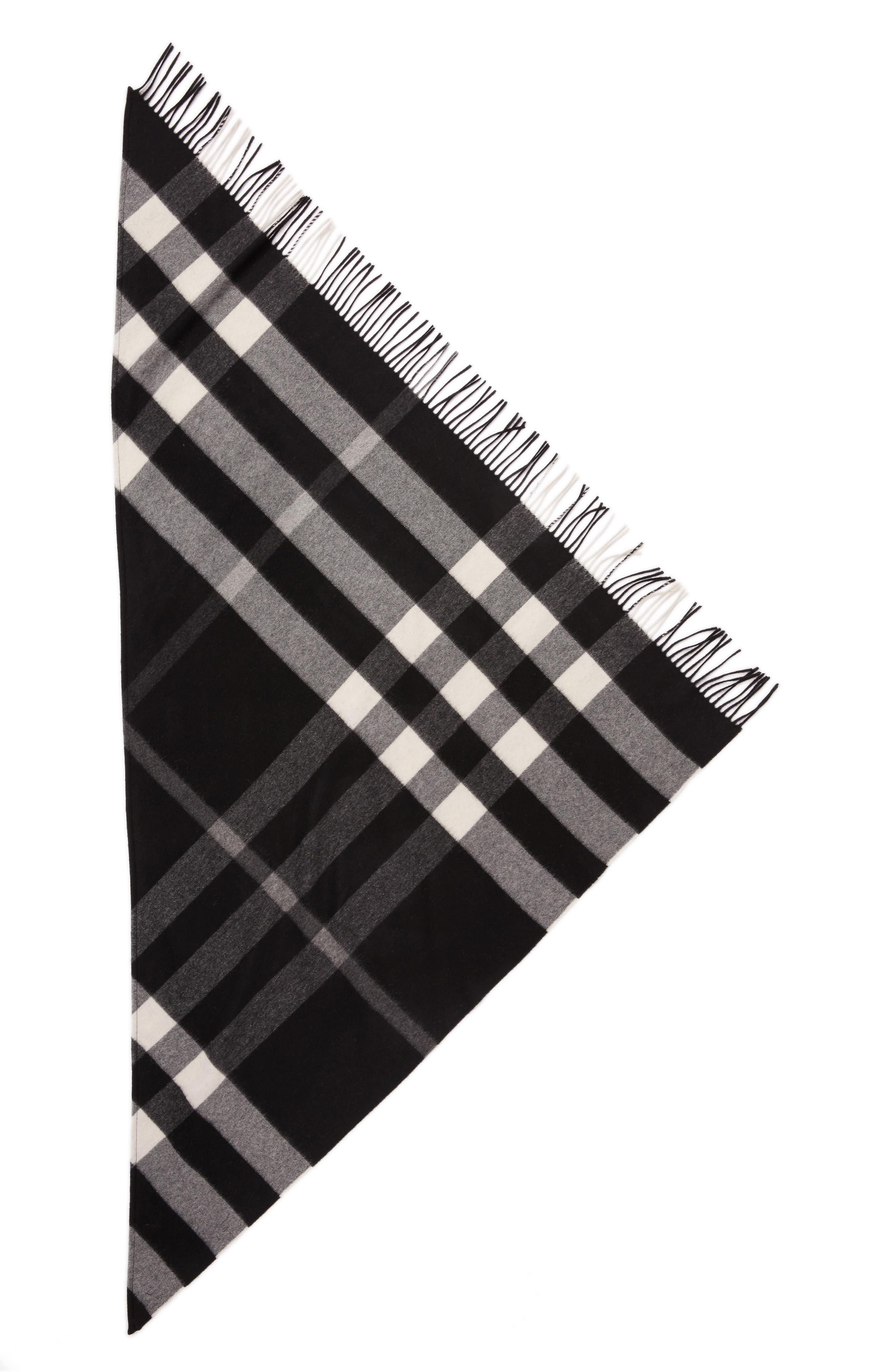 Mega Check Cashmere Scarf,                             Alternate thumbnail 2, color,                             Black