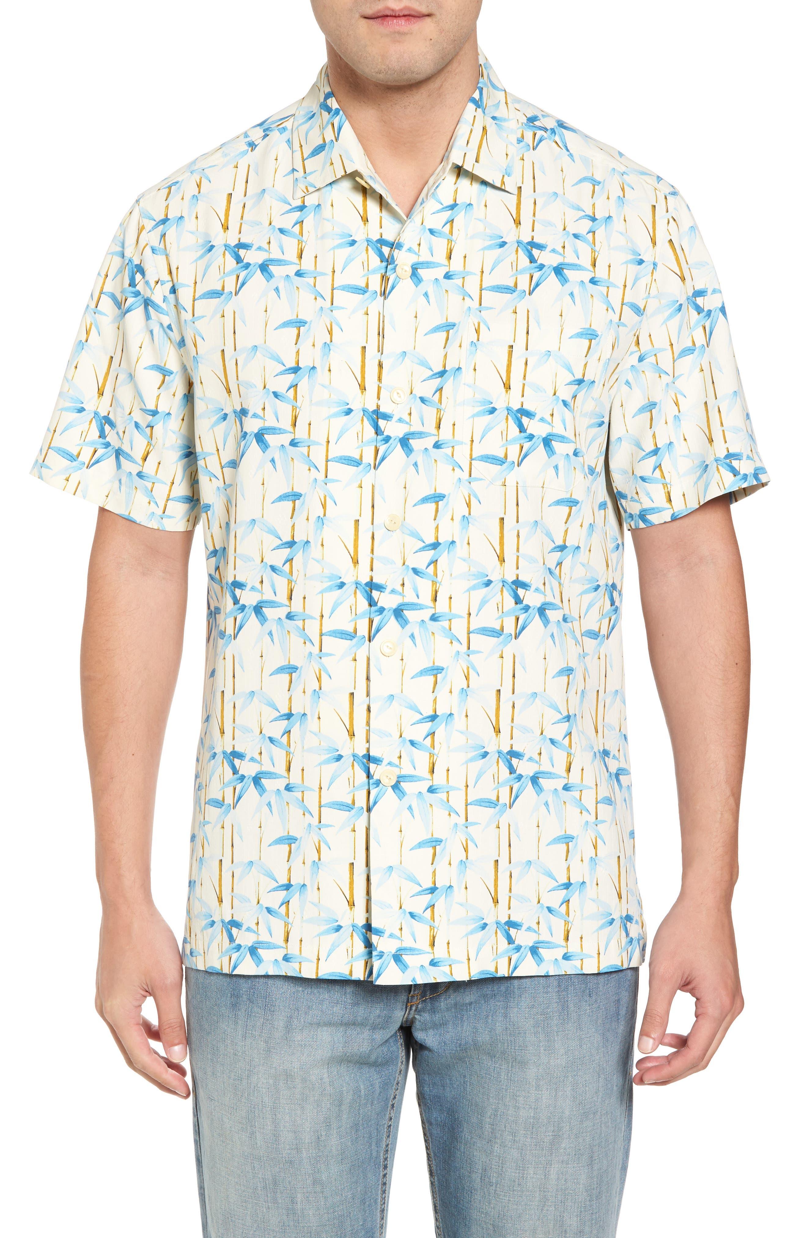 Forest Print Silk Sport Shirt,                             Main thumbnail 1, color,                             Coconut Cream