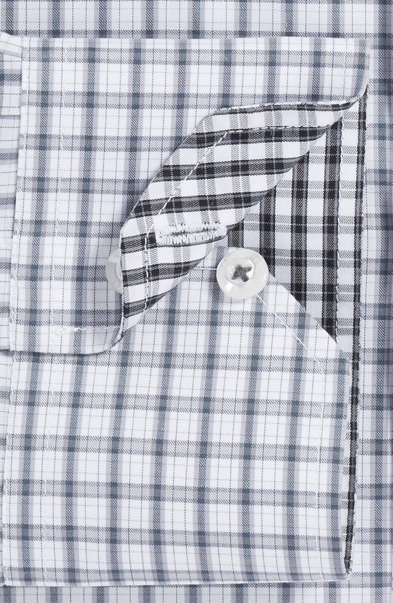 Trim Fit Plaid Dress Shirt,                             Alternate thumbnail 2, color,                             Charcoal