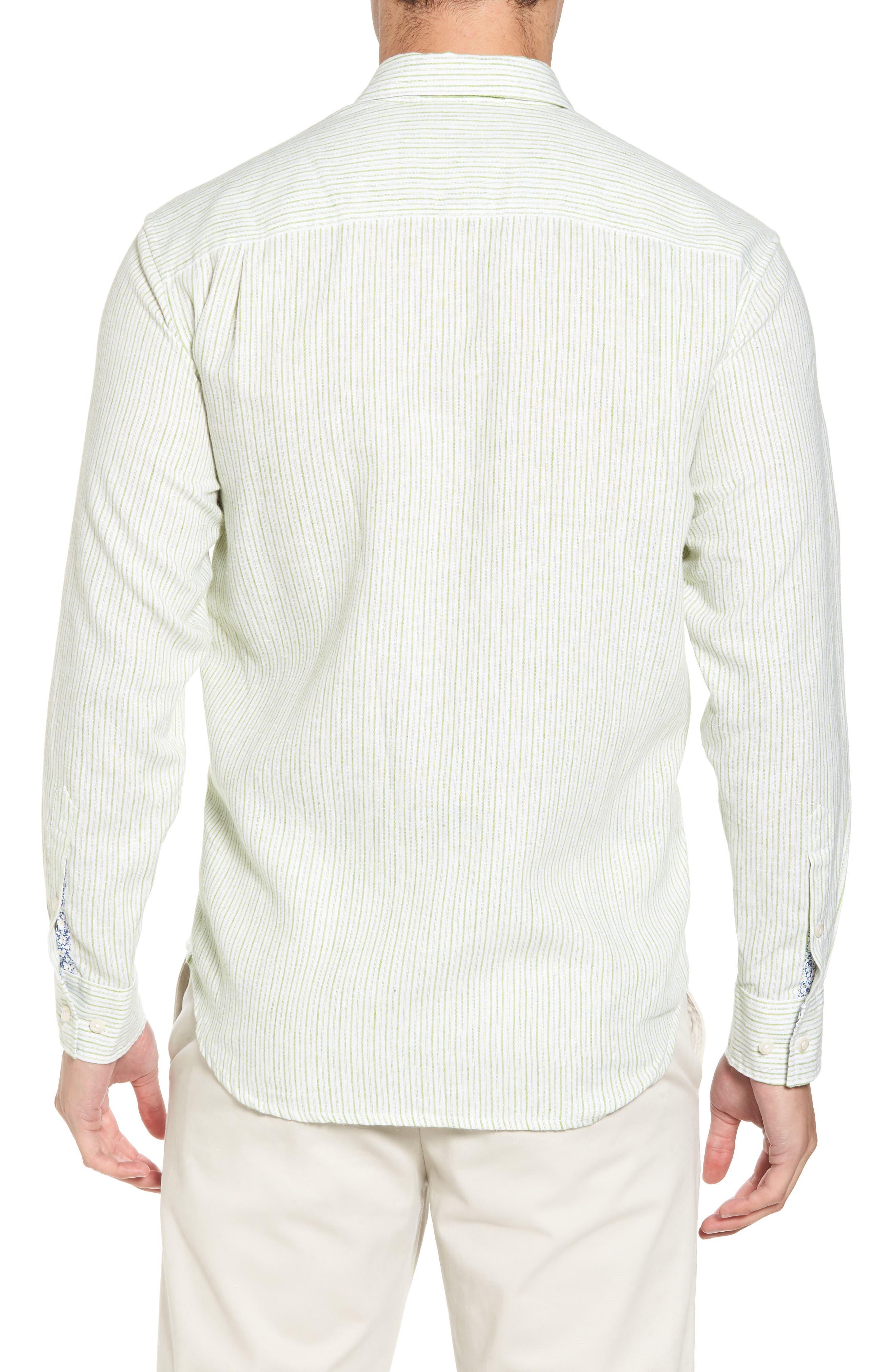 Alternate Image 2  - Tommy Bahama Bungalow Stripe Regular Fit Linen Blend Sport Shirt