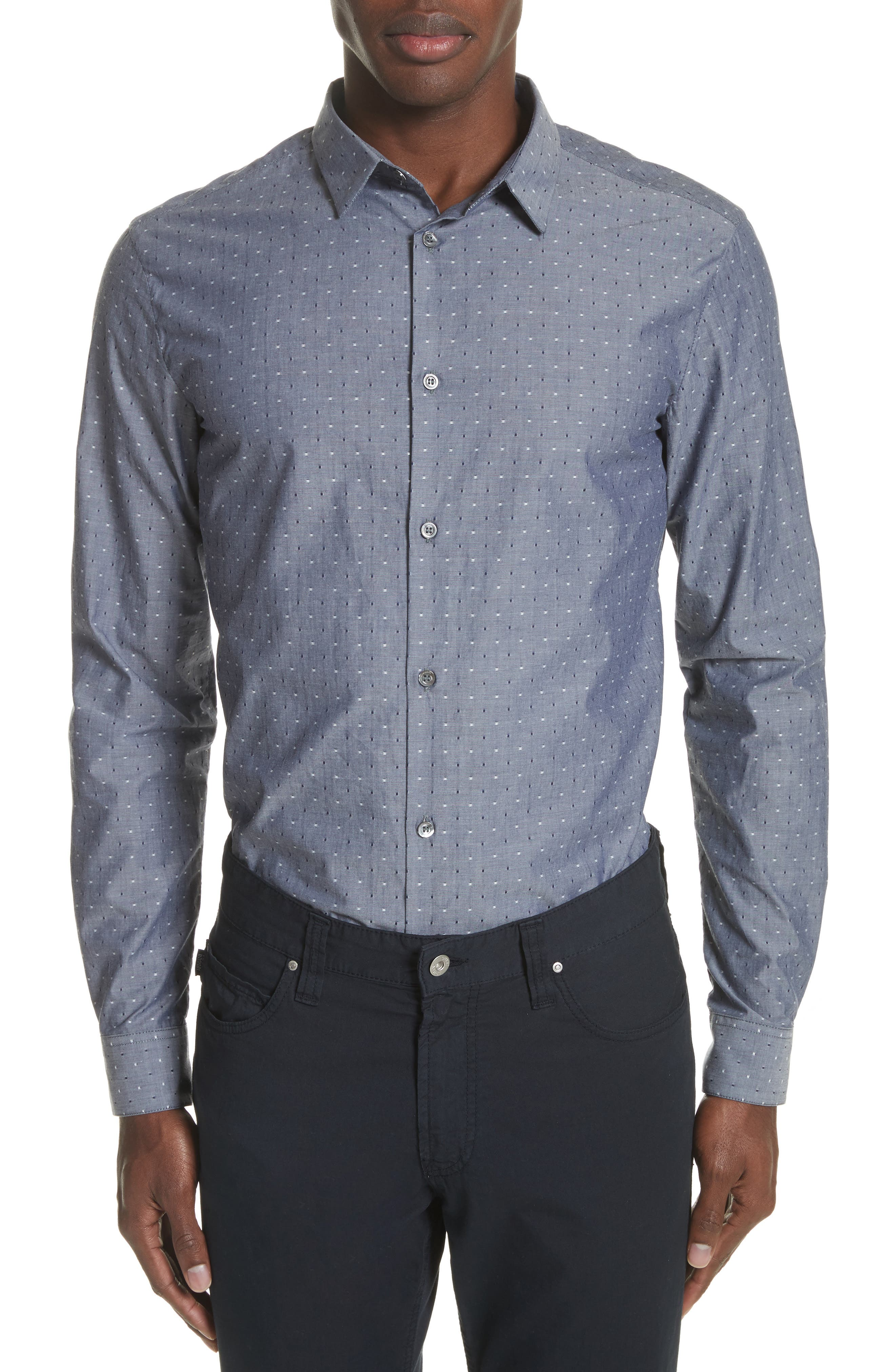 Slim Fit Chambray Pin Dot Sport Shirt,                         Main,                         color, Fantasia Blue