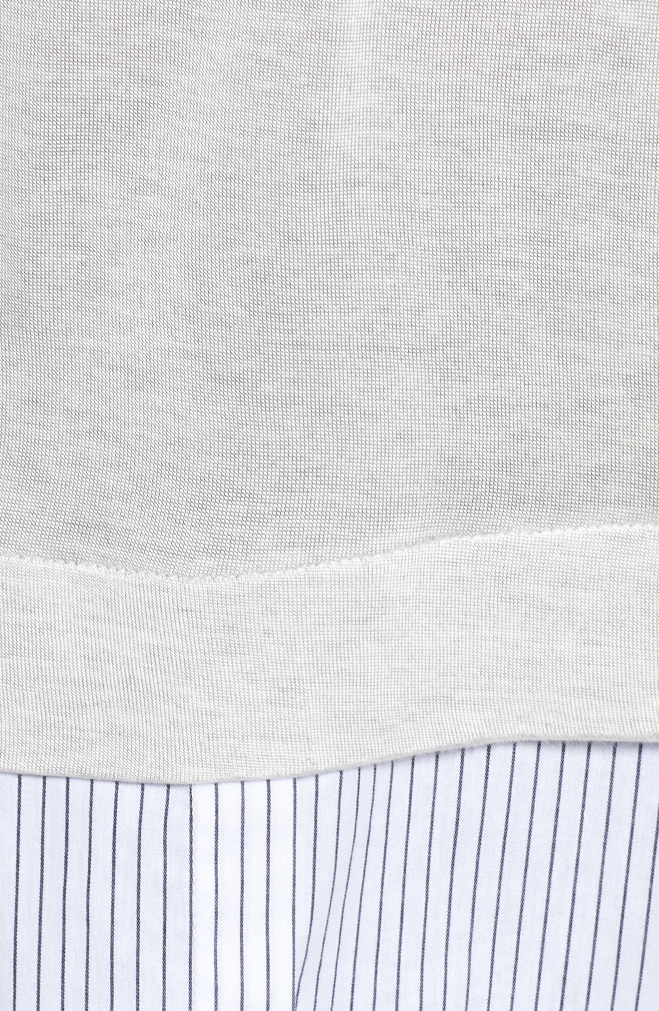 Mix Media Tie Cuff Top,                             Alternate thumbnail 5, color,                             Grey Heather Combo