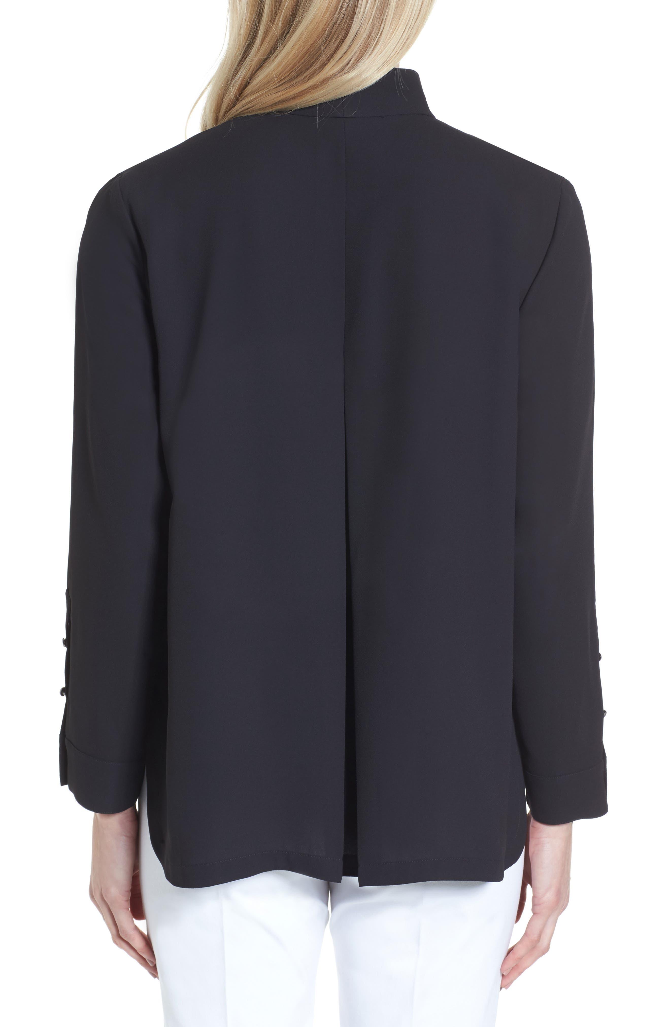 Split Collar Stripe Sleeve Blouse,                             Alternate thumbnail 2, color,                             Black