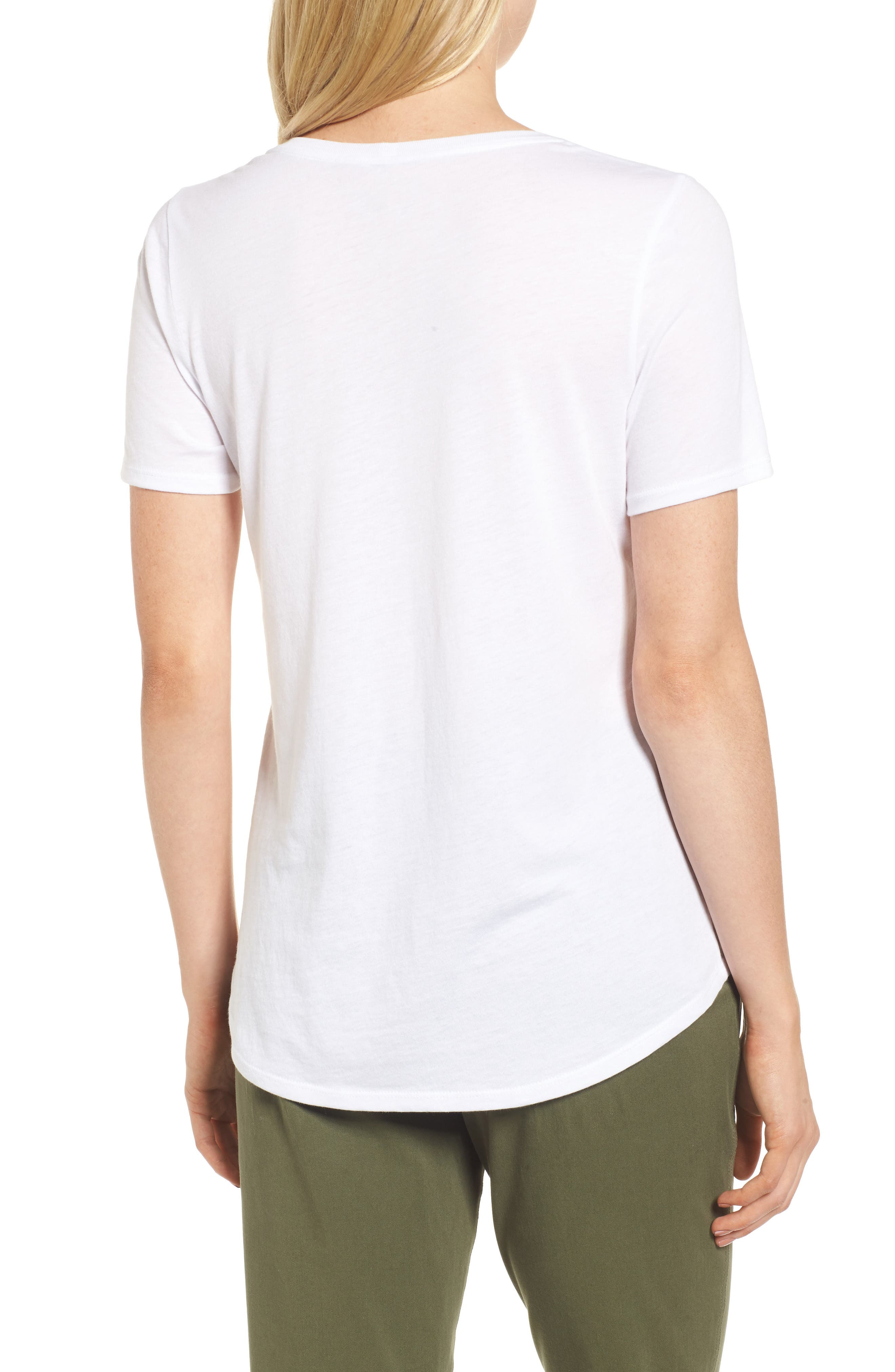 Scoop Neck Tee,                             Alternate thumbnail 2, color,                             White