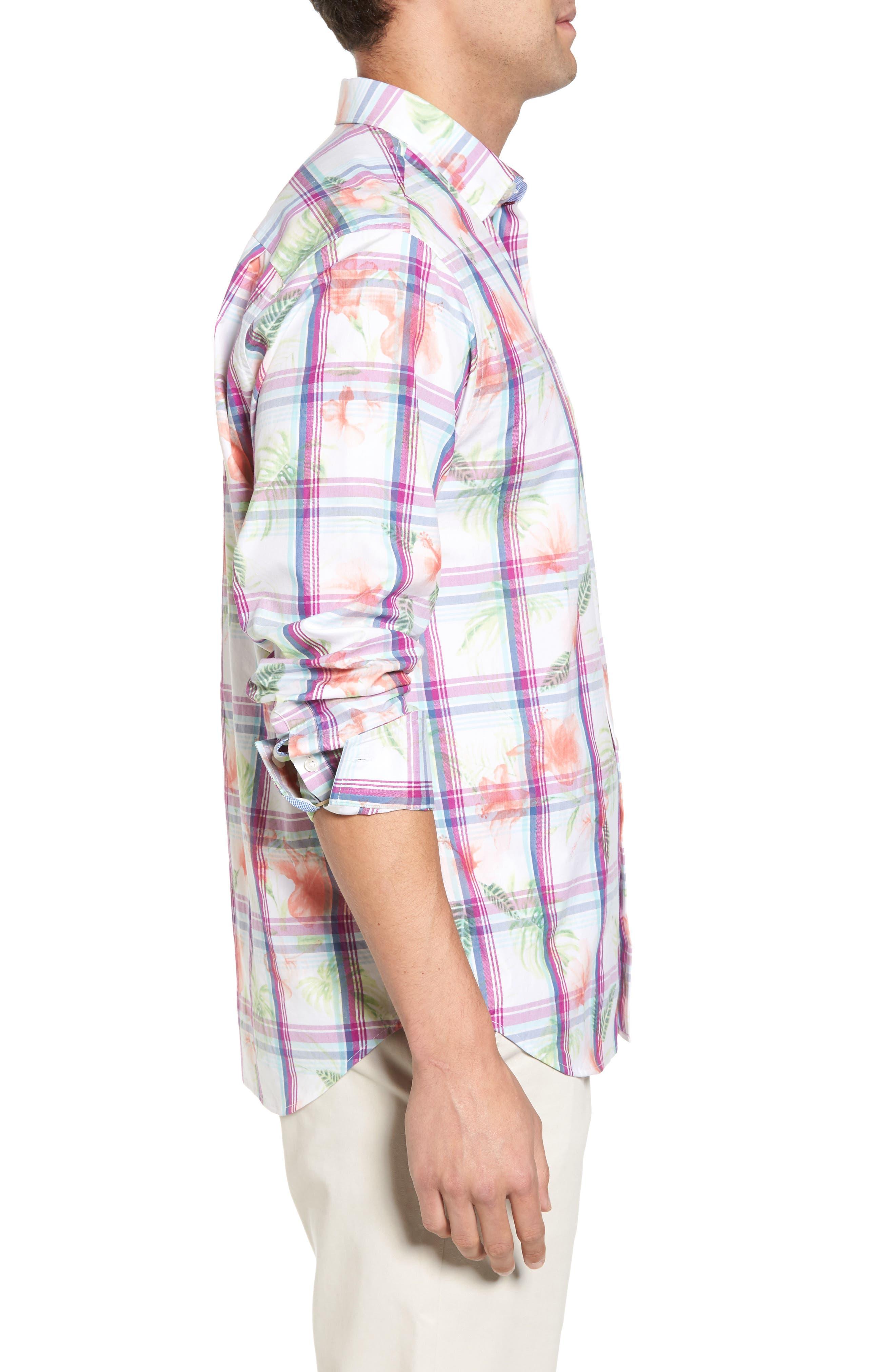Vedado Regular Fit Plaid Sport Shirt,                             Alternate thumbnail 3, color,                             White